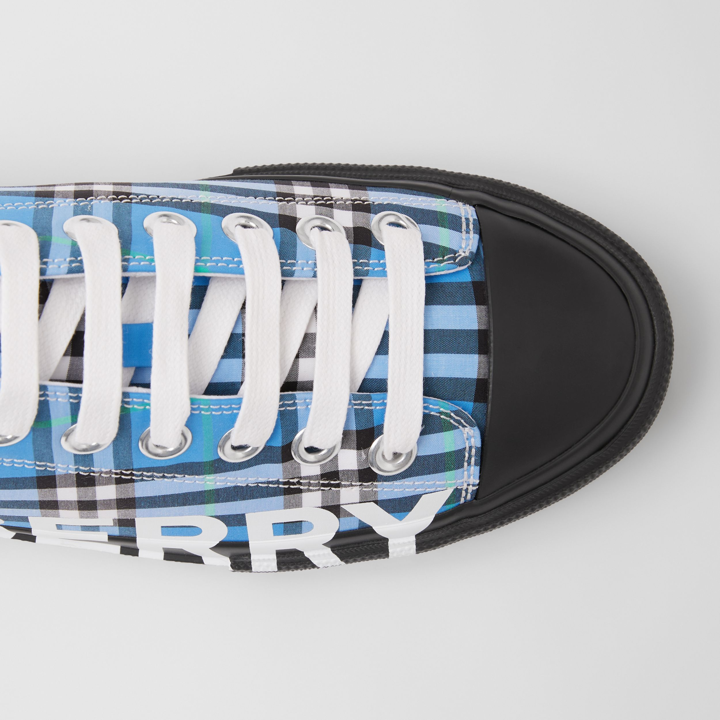 Logo Print Check Cotton Sneakers in Blue Azure - Women | Burberry United States - 2