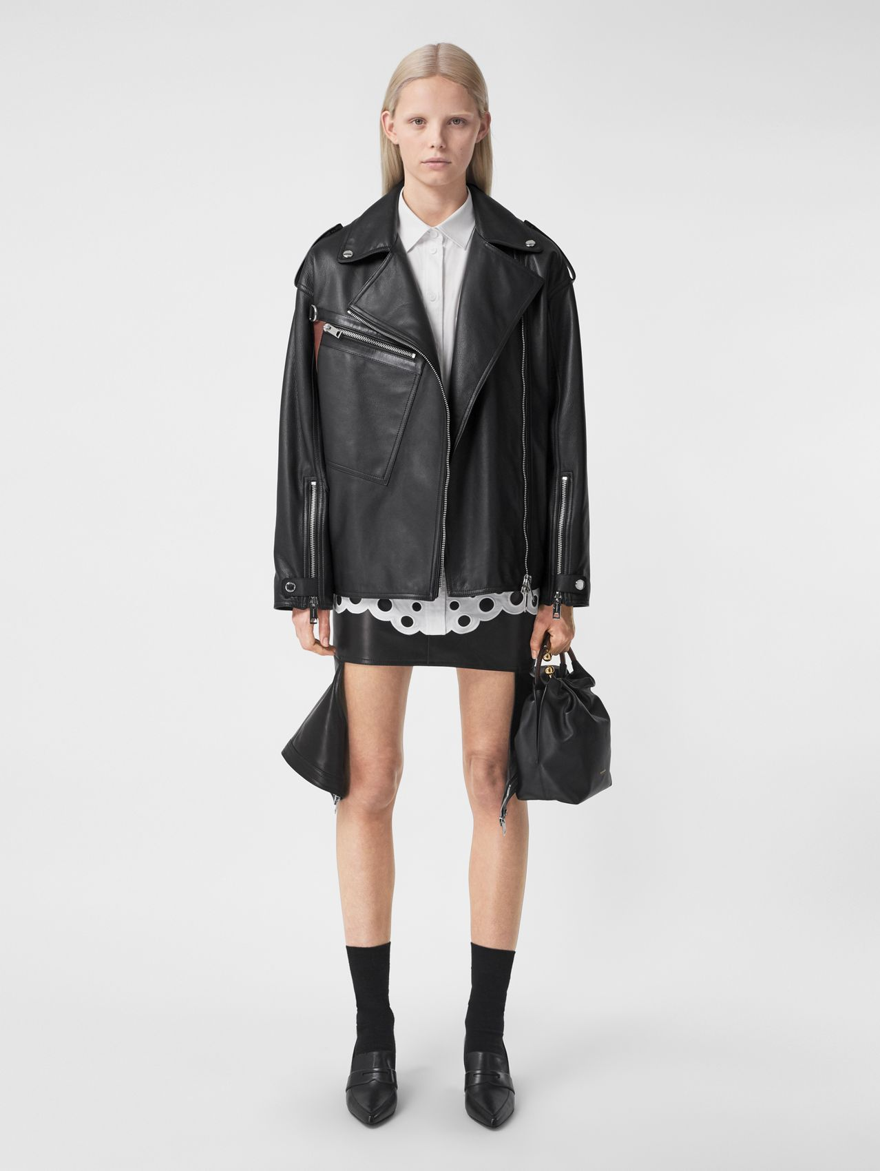 Pocket Detail Leather Biker Jacket in Black