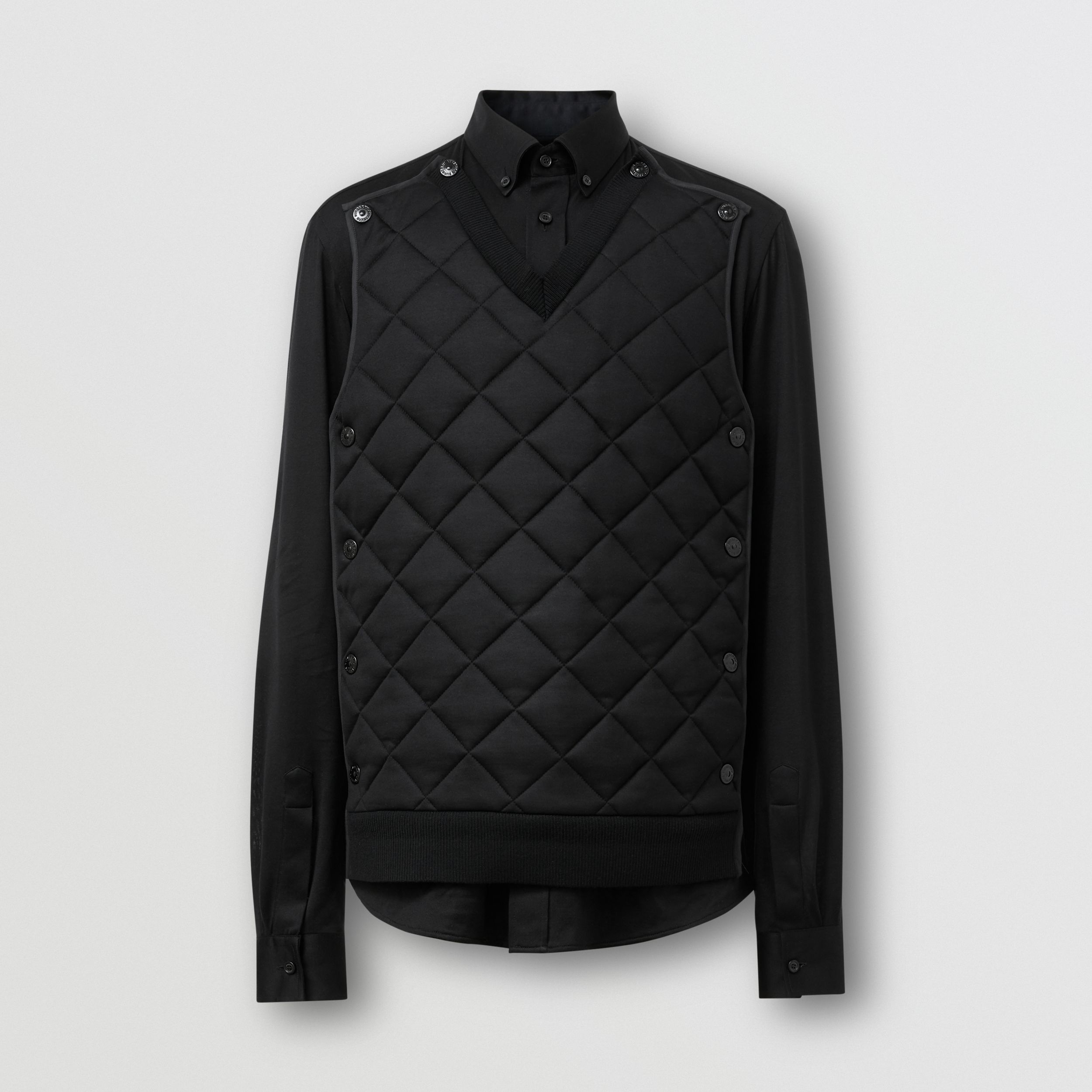 Classic Fit Detachable Quilted Panel Silk Jersey Shirt in Black | Burberry - 4