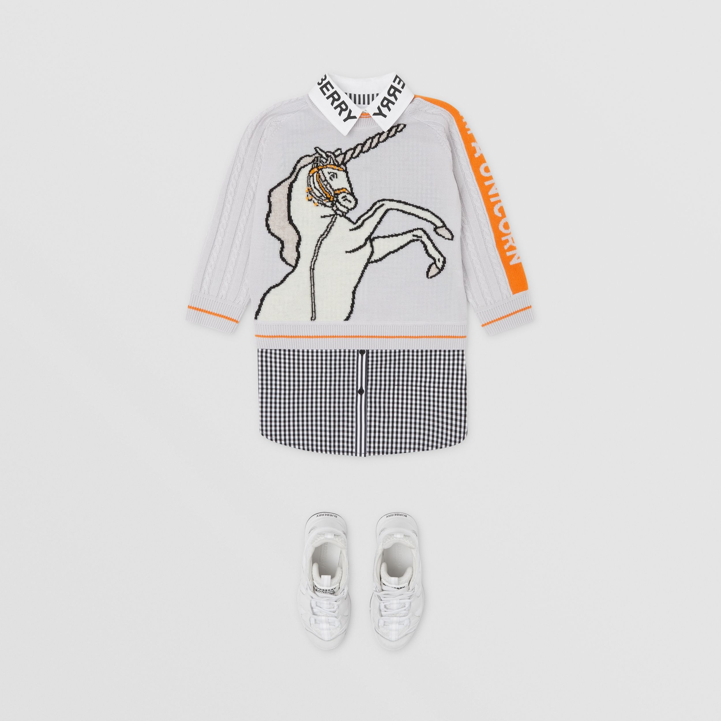 Unicorn Intarsia Wool Sweater in Light Grey | Burberry - 3