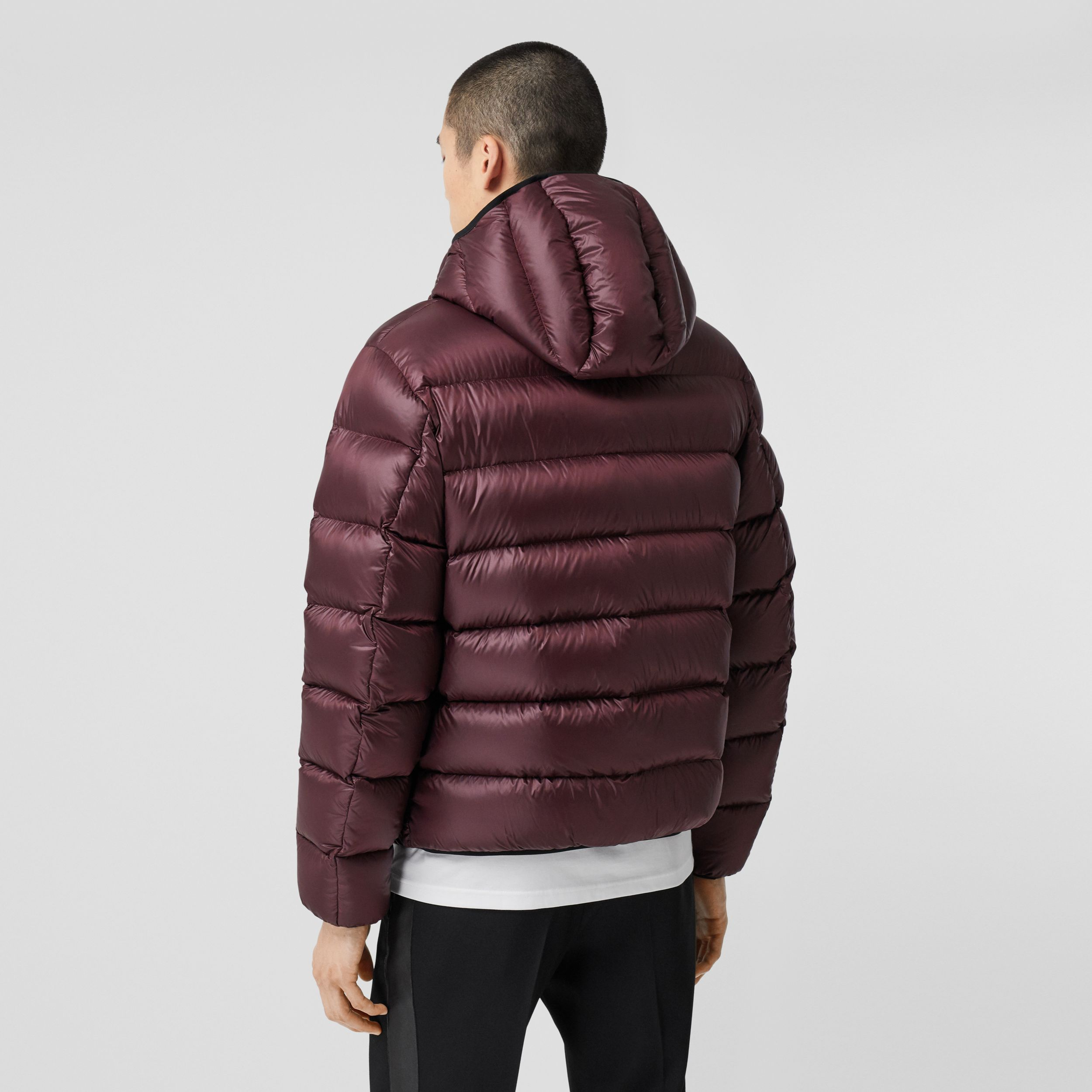Logo Appliqué Hooded Puffer Jacket in Dark Plum | Burberry Canada - 3