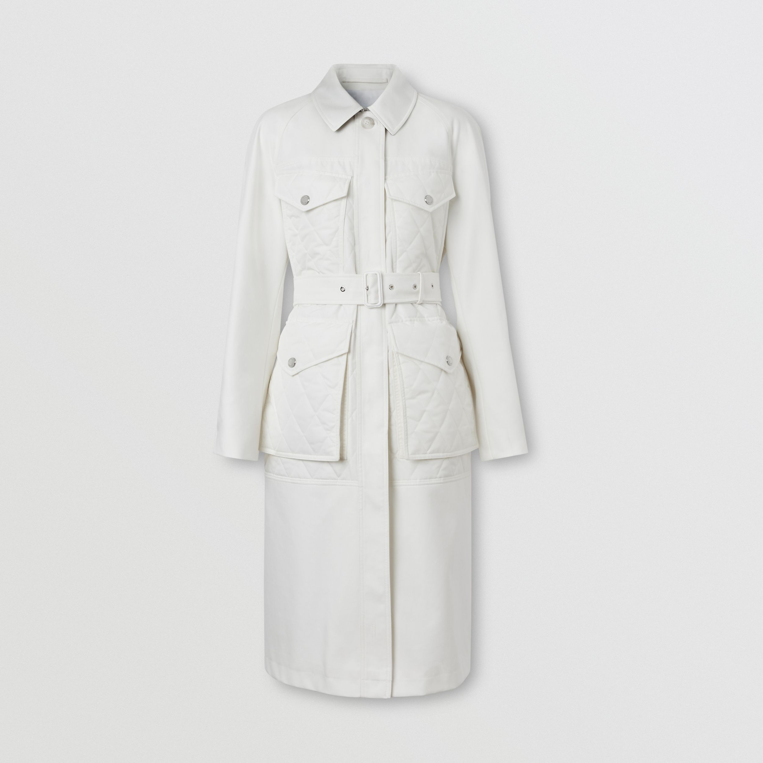 Diamond Quilted Panel Cotton Gabardine Car Coat in Natural White - Women | Burberry - 4