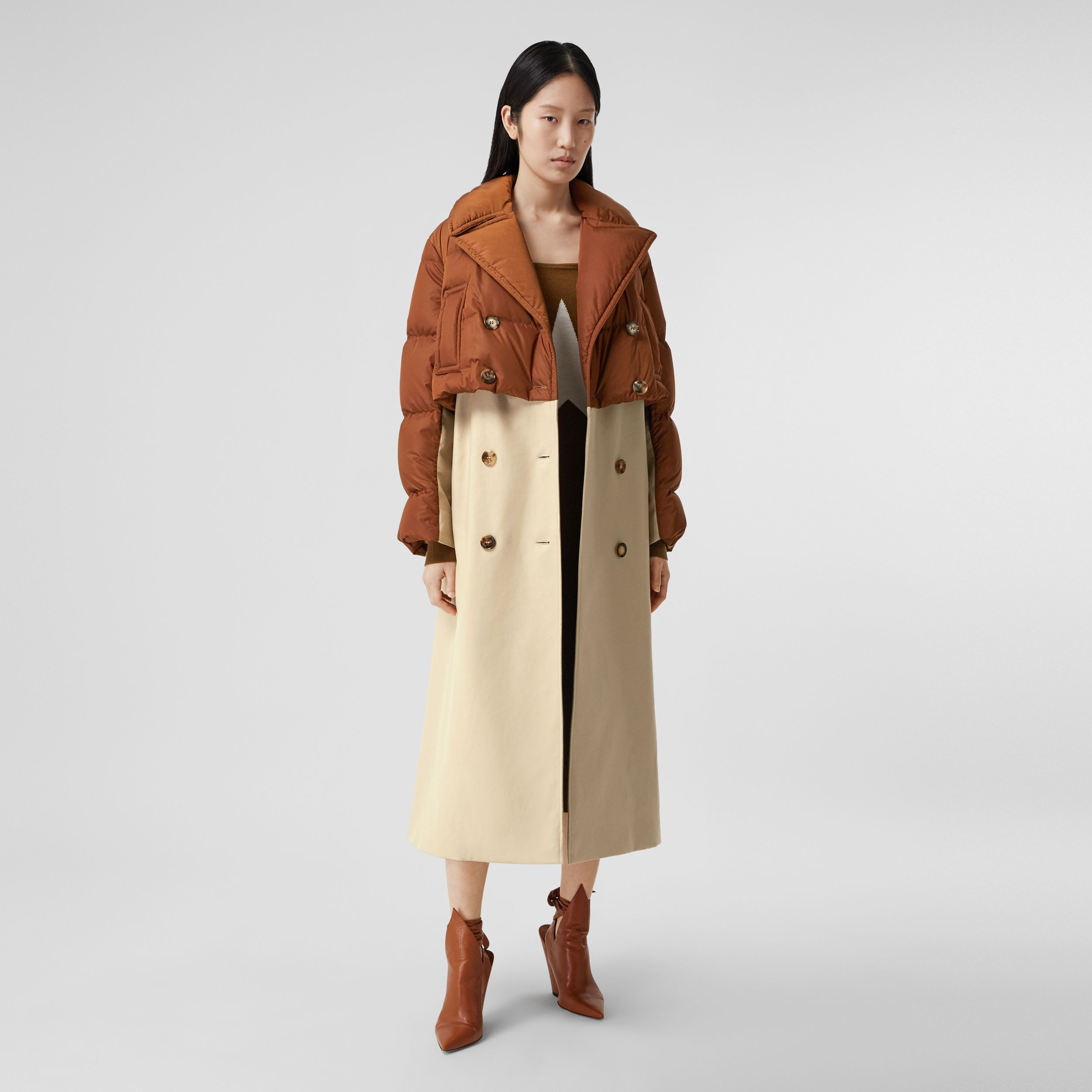 Puffer Jacket Detail Cotton Gabardine Trench Coat in Warm Brown - Women | Burberry Australia - 1