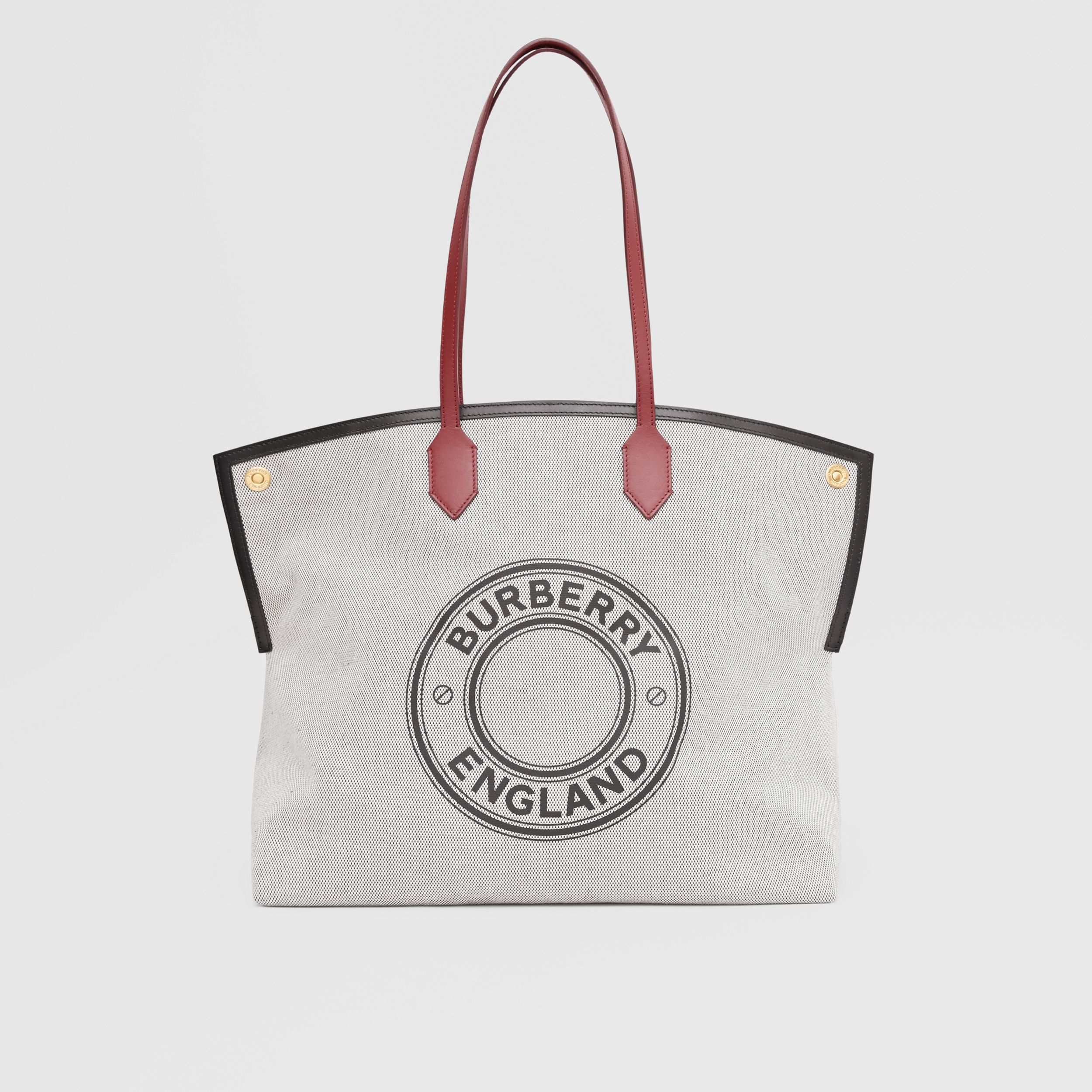 Large Logo Graphic Cotton Canvas Society Tote in Black - Women | Burberry - 1