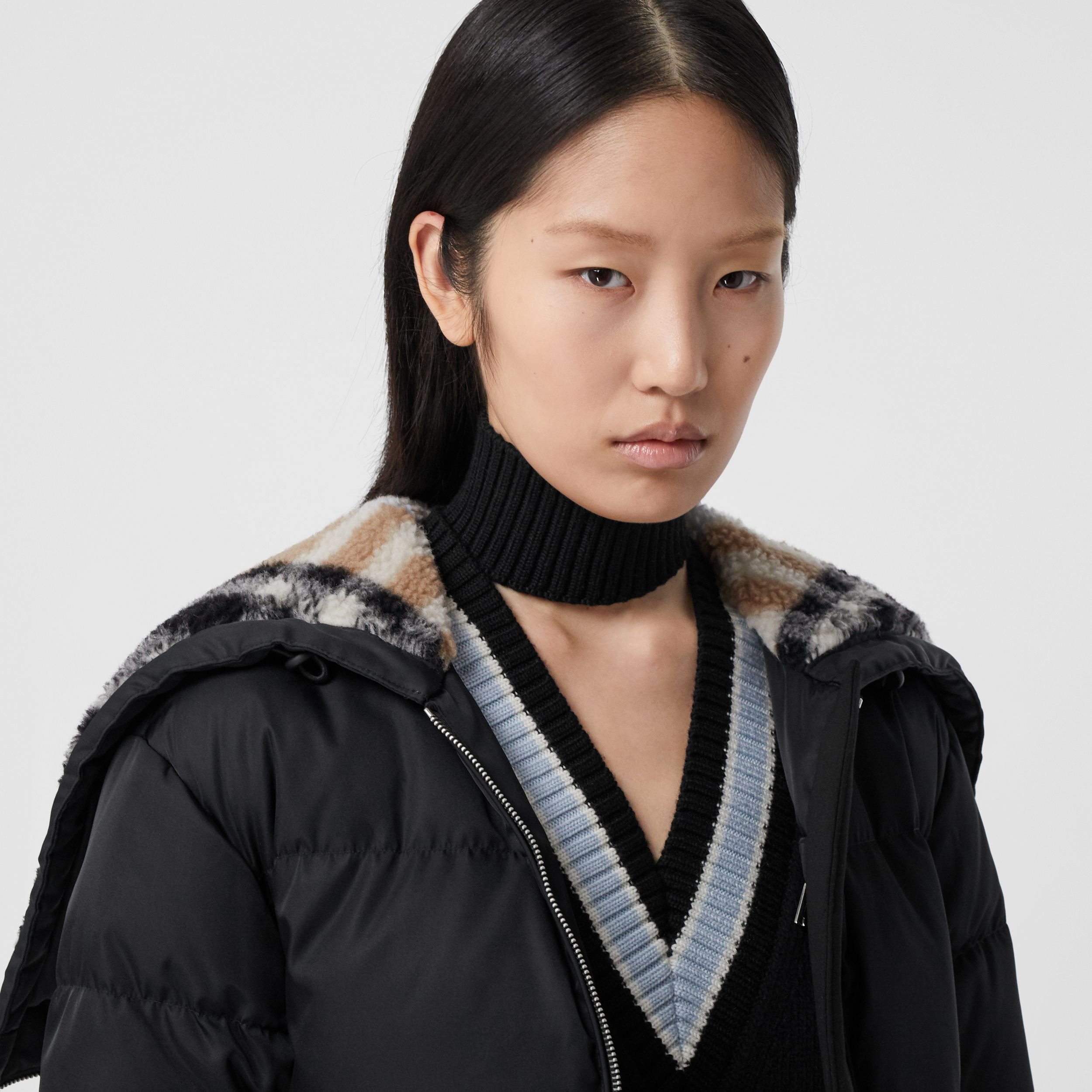 Check Fleece-lined Hood ECONYL® Puffer Jacket in Black - Women | Burberry - 2