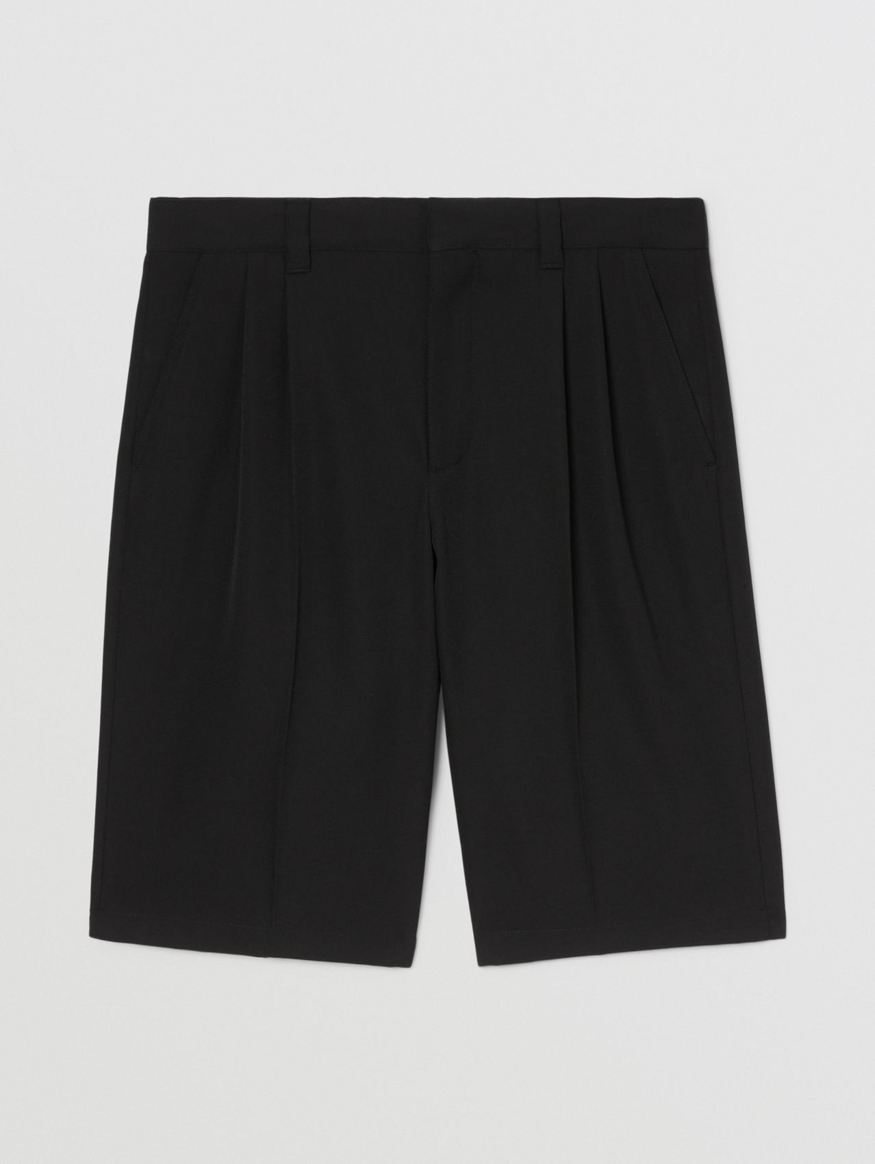 Logo Appliqué Grain De Poudre Wool Shorts in Black