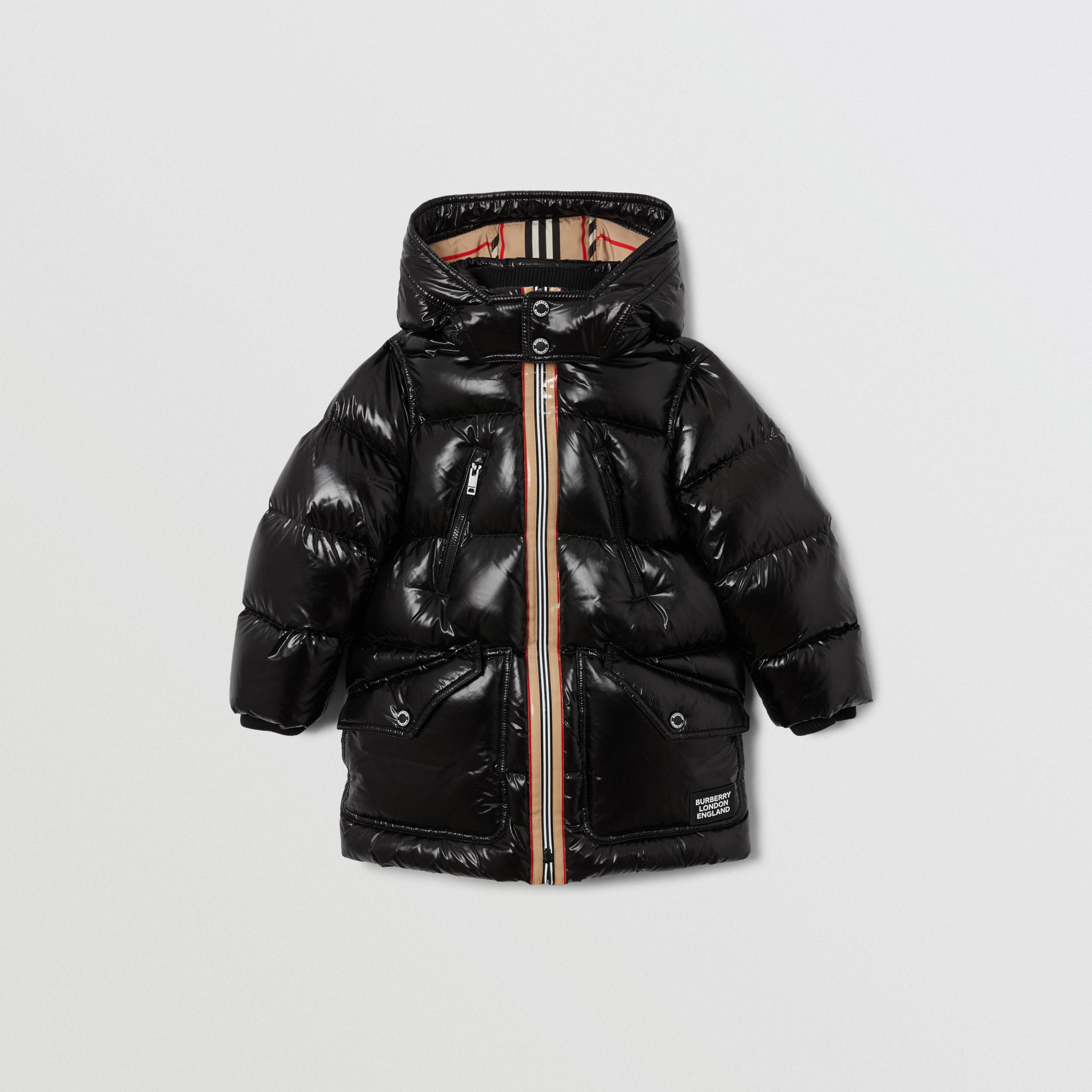 Icon Stripe Trim Hooded Puffer Coat in Black | Burberry Canada - 1
