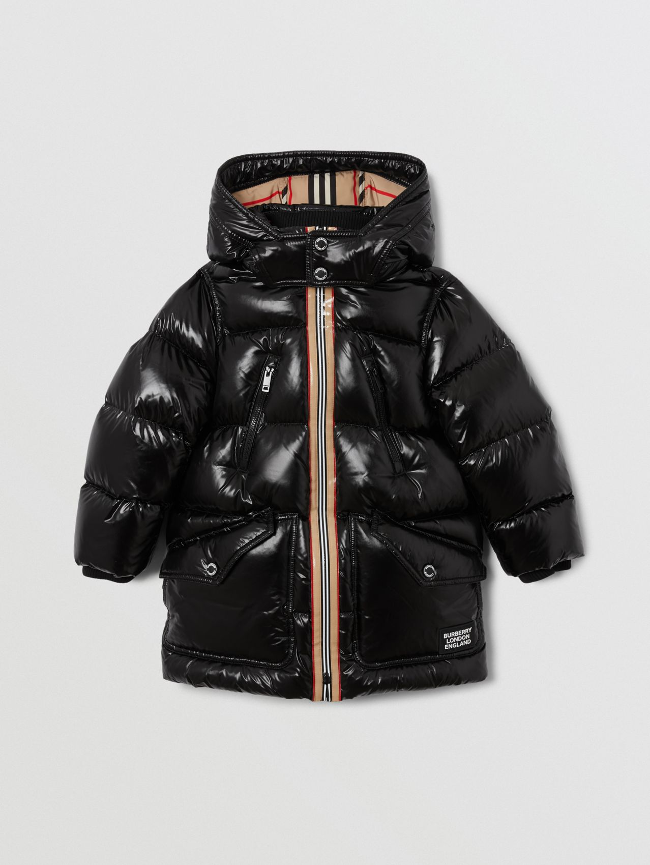 Icon Stripe Trim Hooded Puffer Coat in Black