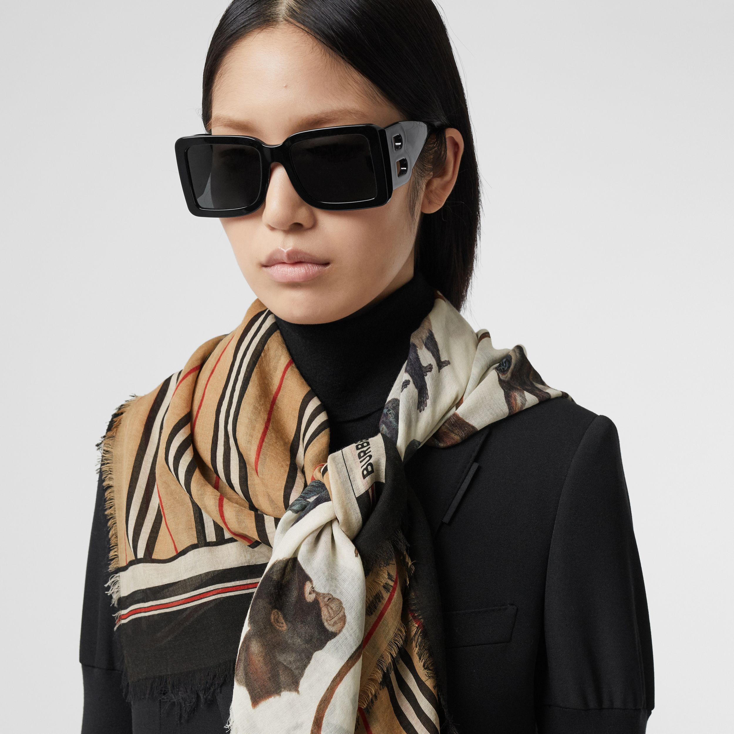 Icon Stripe and Monkey Print Wool Silk Scarf in Archive Beige | Burberry - 3