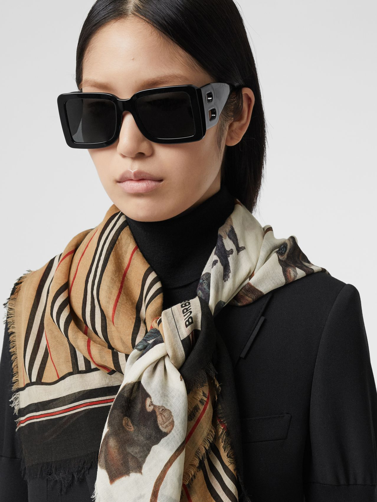 Icon Stripe and Monkey Print Wool Silk Scarf in Archive Beige