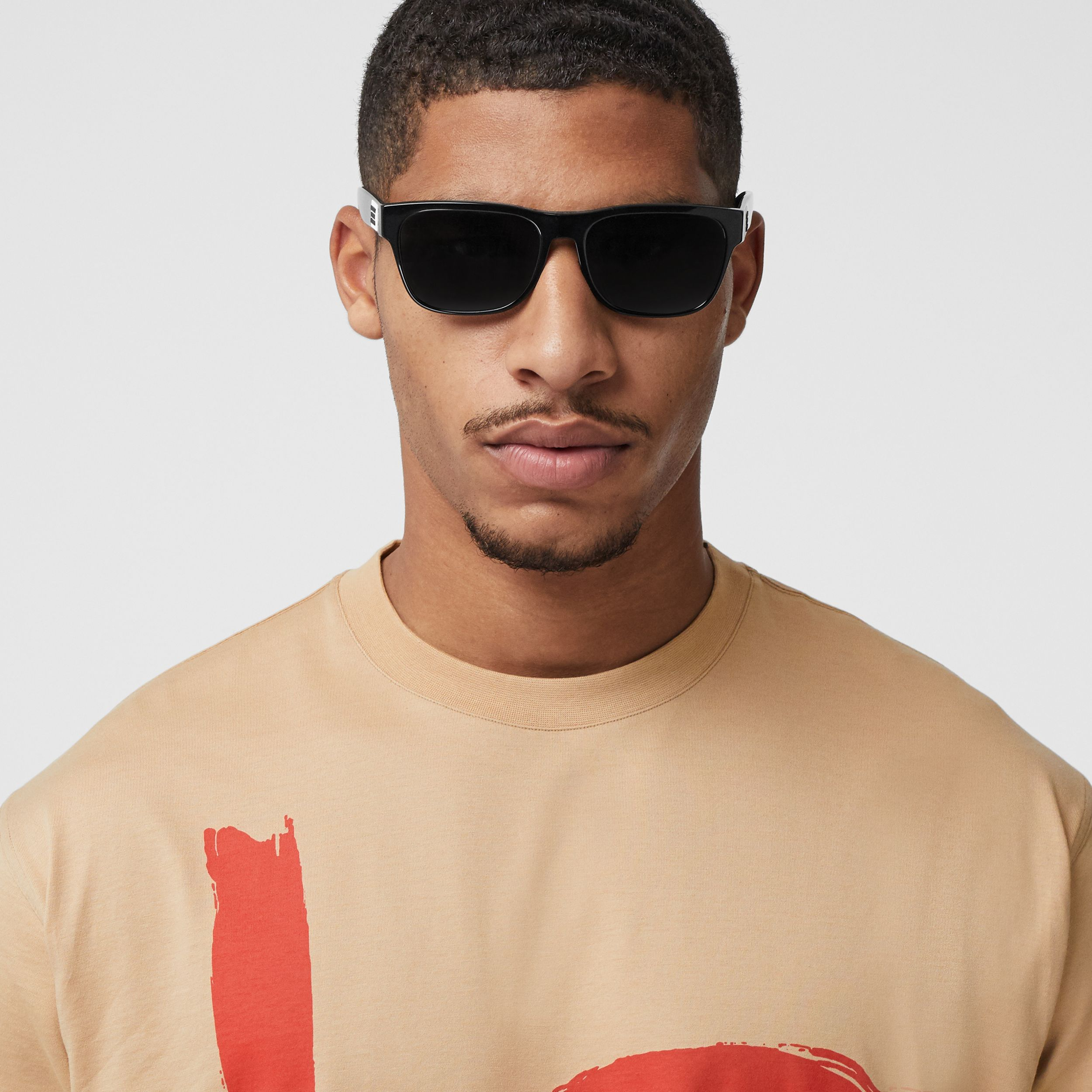Love Print Cotton Oversized T-shirt in Soft Fawn - Men | Burberry - 2