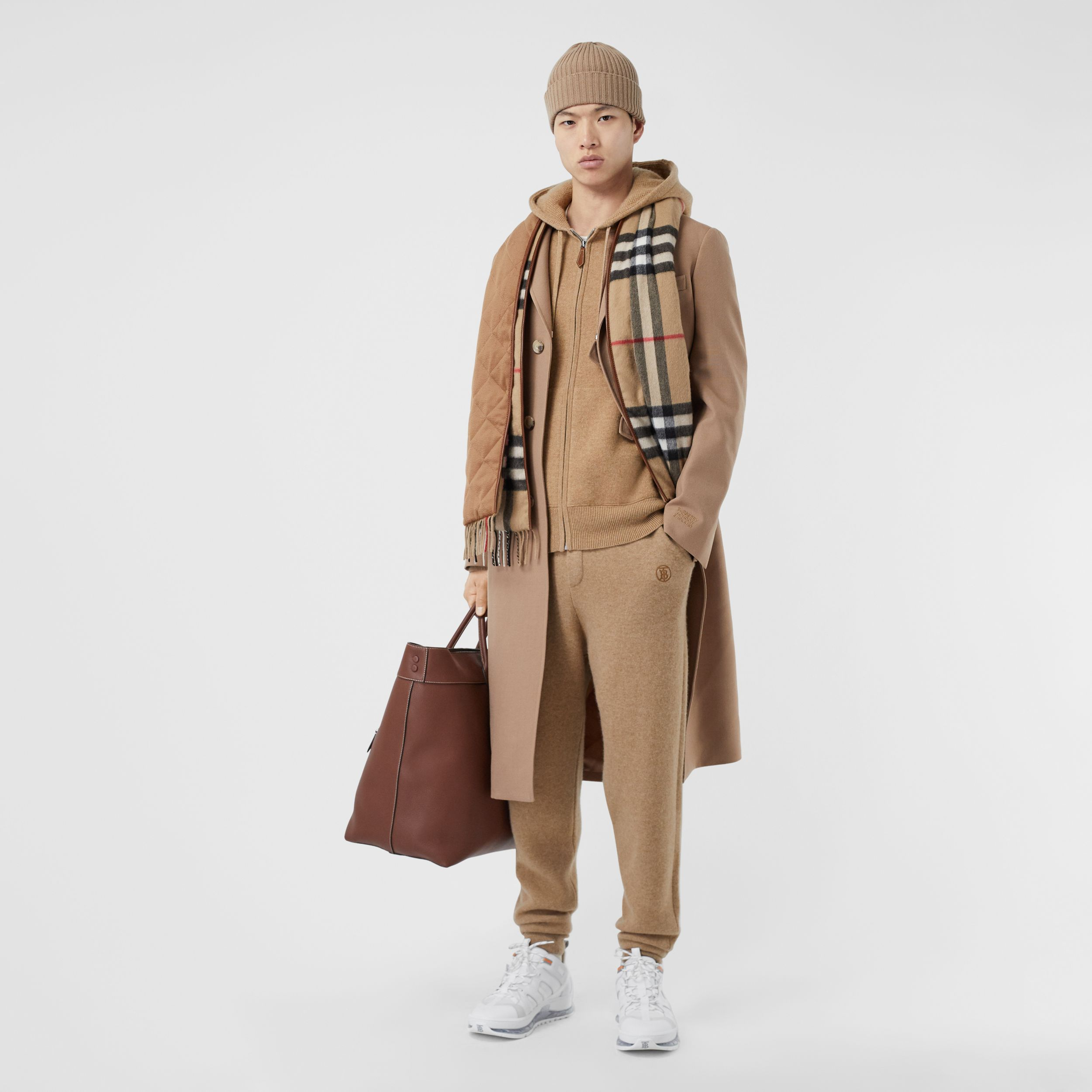 Monogram Motif Cashmere Blend Trackpants in Pale Coffee - Men | Burberry - 1