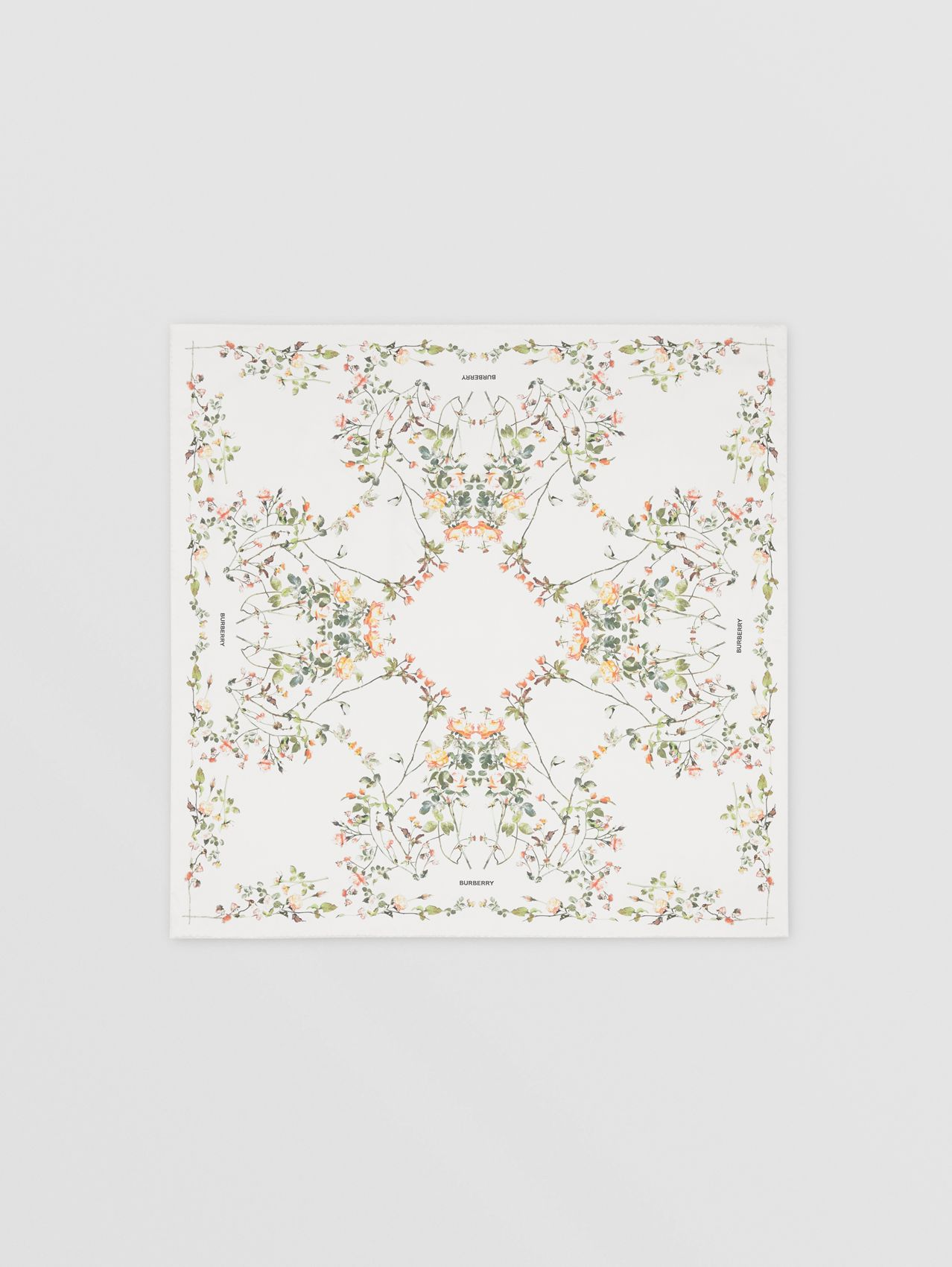 Rose Print Silk Square Scarf in White