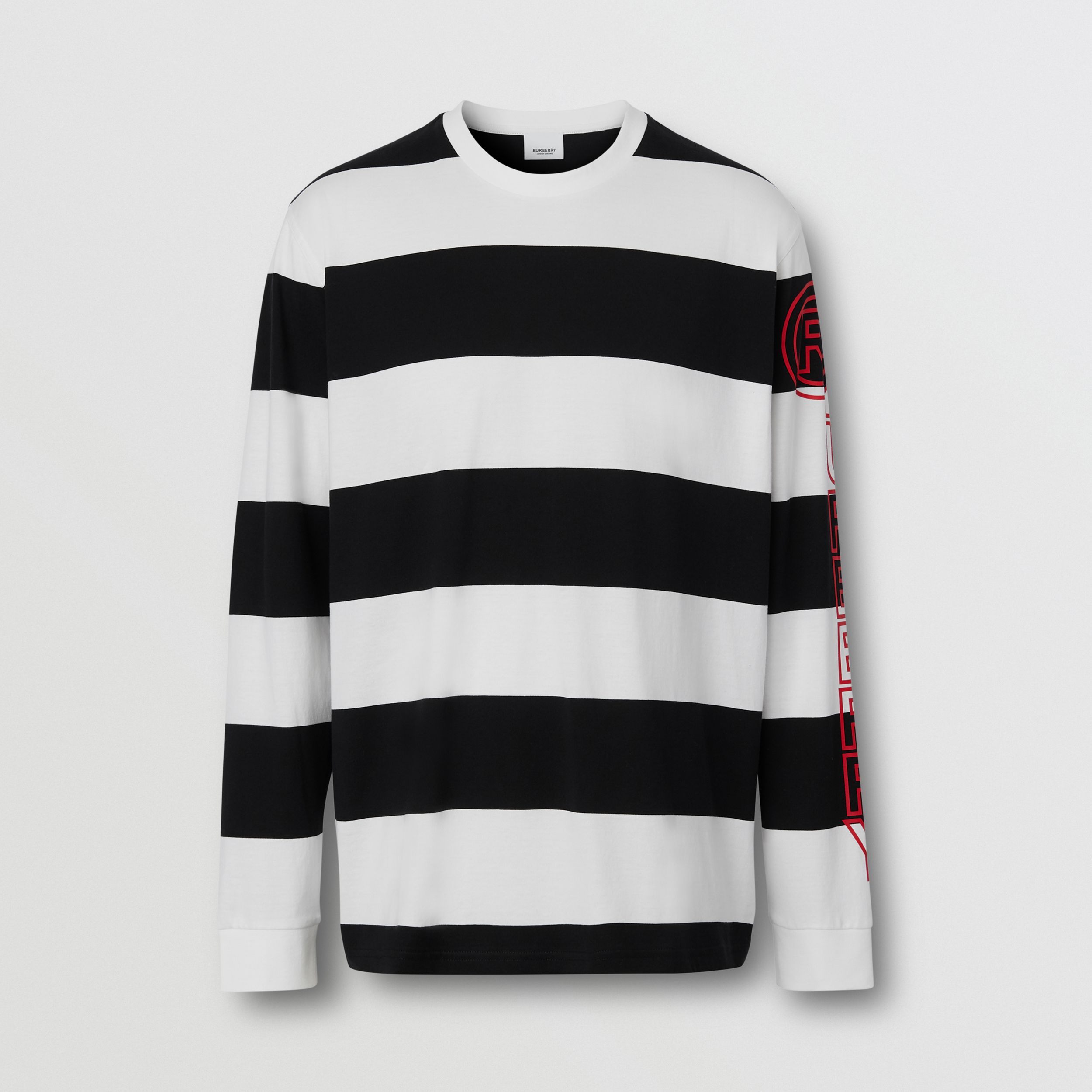 Long-sleeve Striped Cotton Oversized Top in Black/white - Men | Burberry - 1
