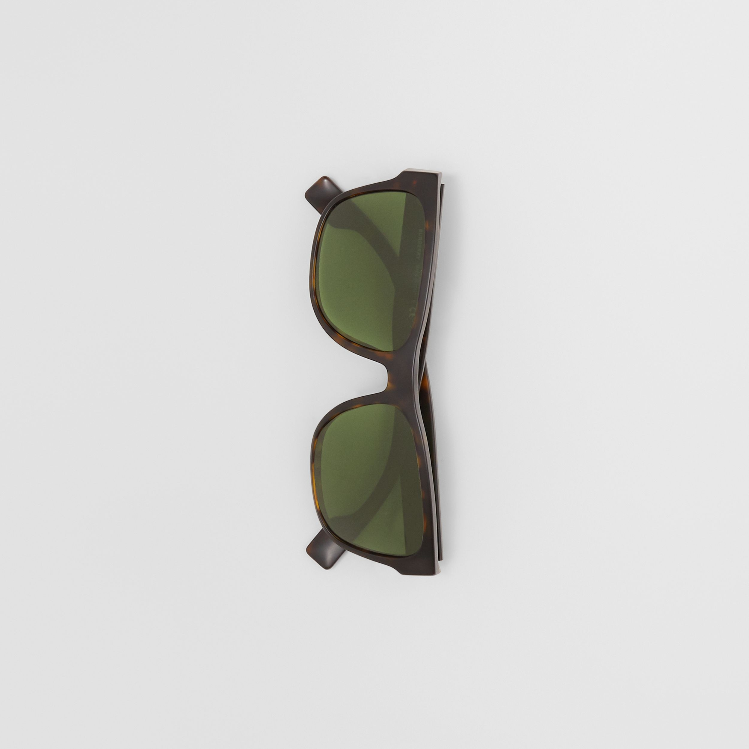 Logo Appliqué Square Frame Sunglasses in Tortoiseshell - Men | Burberry - 4