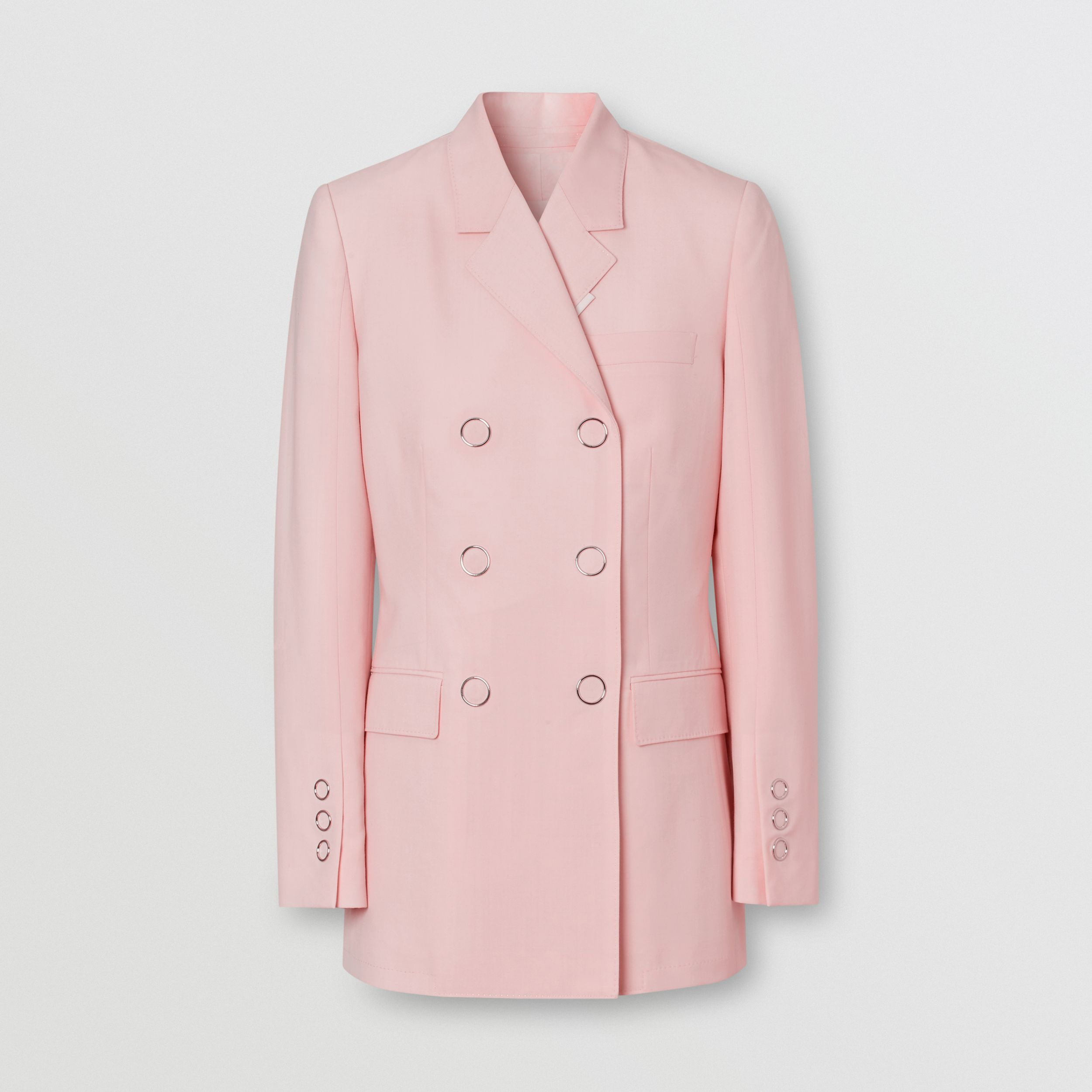 Tumbled Wool Double-breasted Blazer in Soft Pink - Women | Burberry - 4