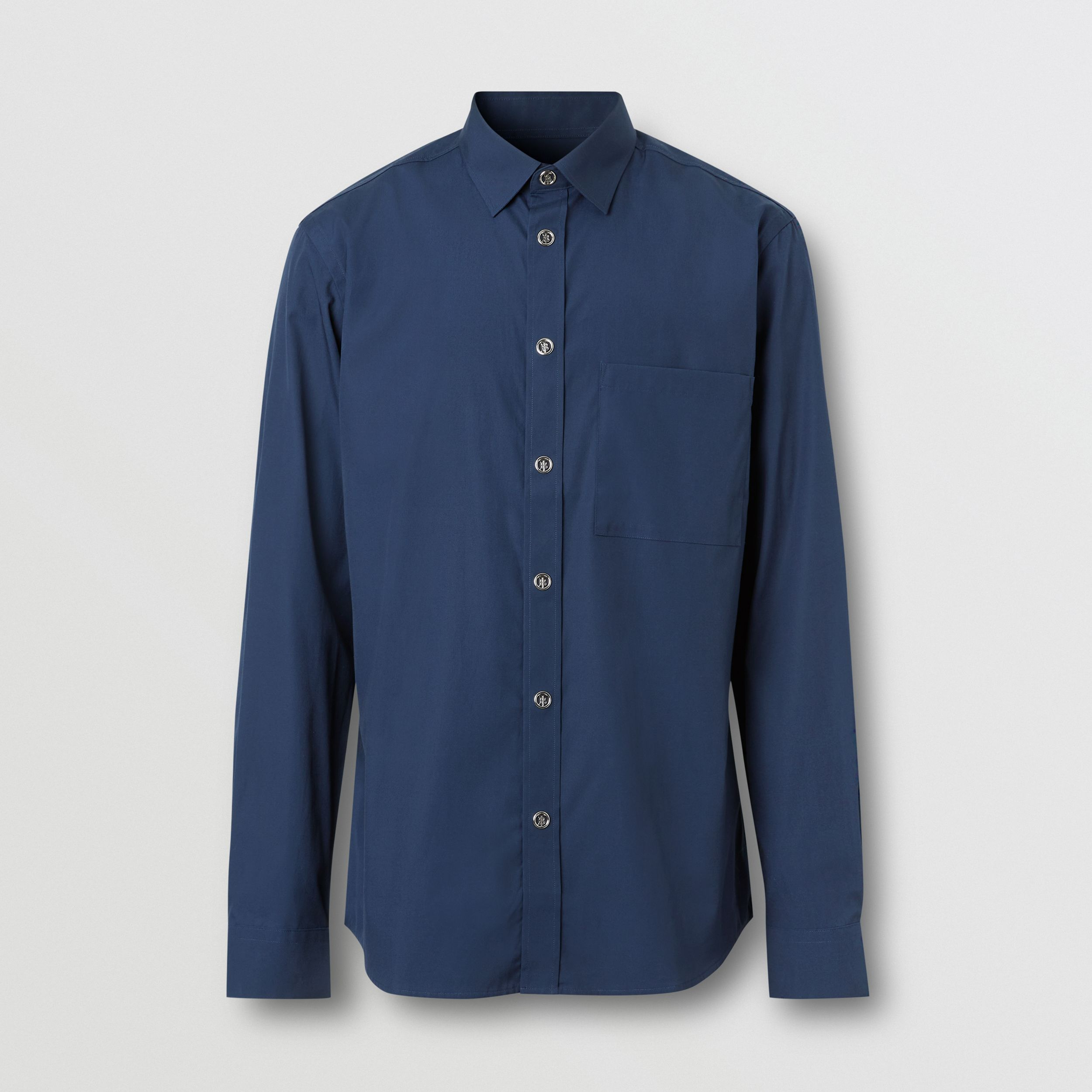 Monogram Motif Stretch Cotton Shirt in Navy - Men | Burberry - 4