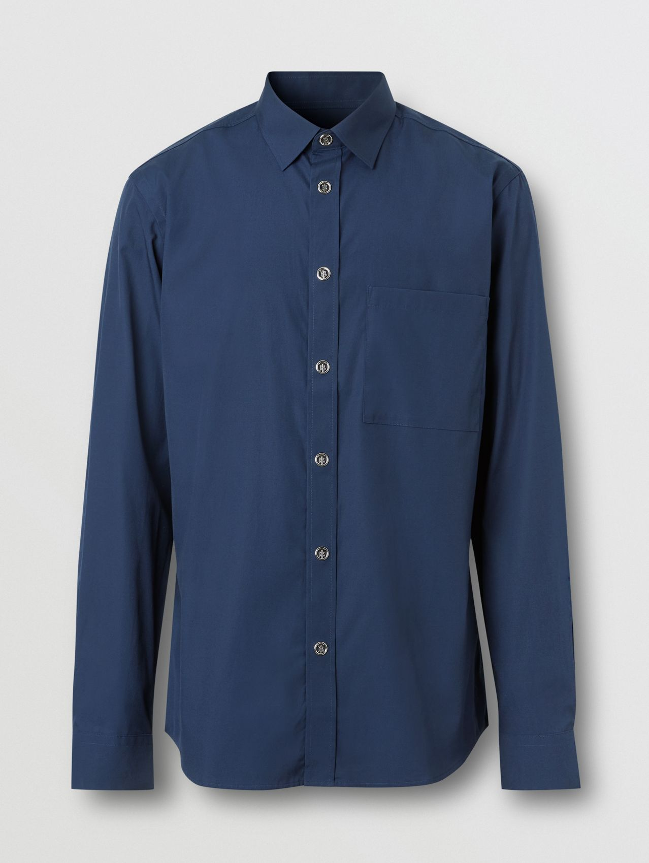 Monogram Motif Stretch Cotton Shirt in Navy