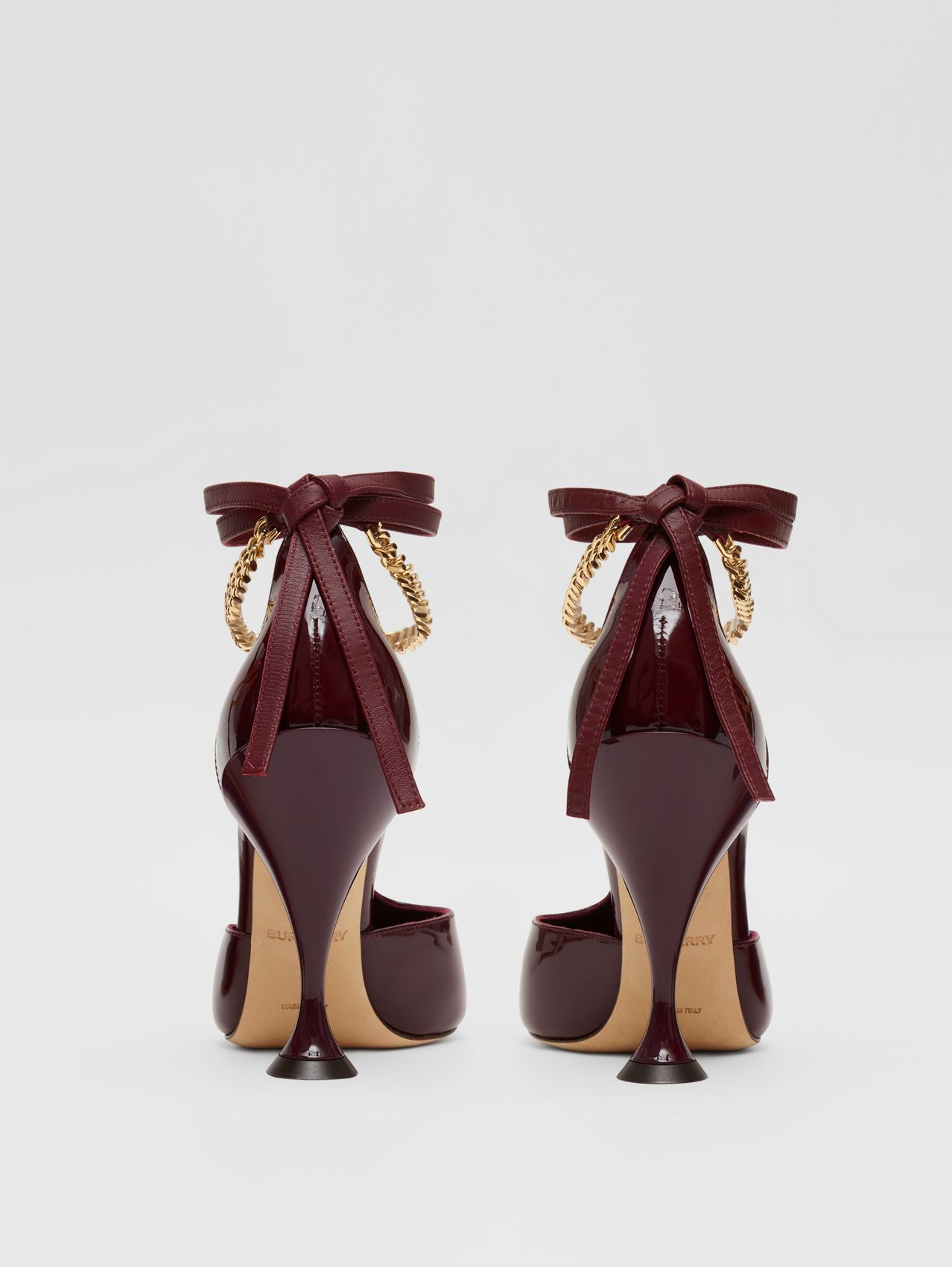Chain Detail Patent Leather Pumps in Oxblood