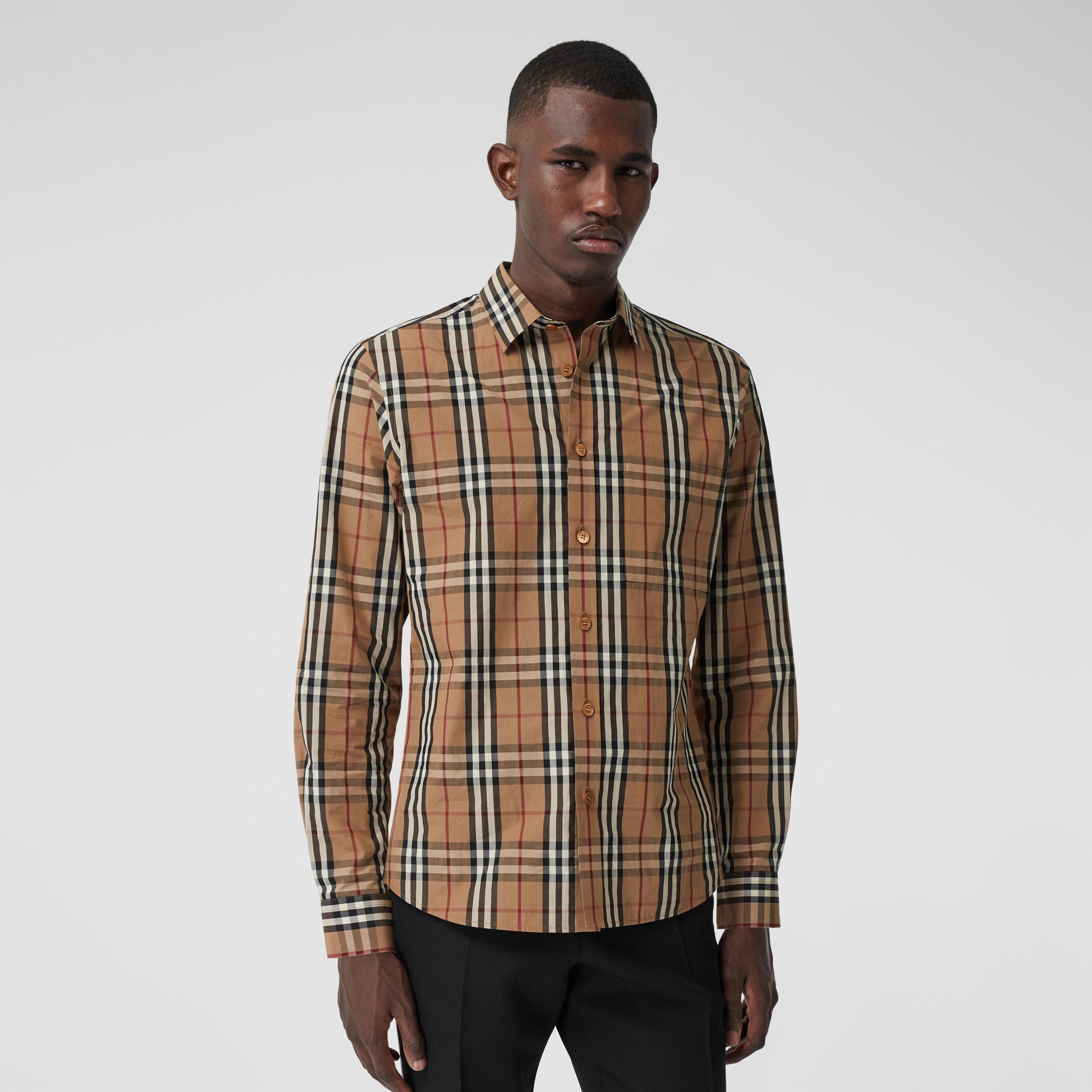 Vintage Check Cotton Poplin Shirt in Birch Brown - Men | Burberry - 1