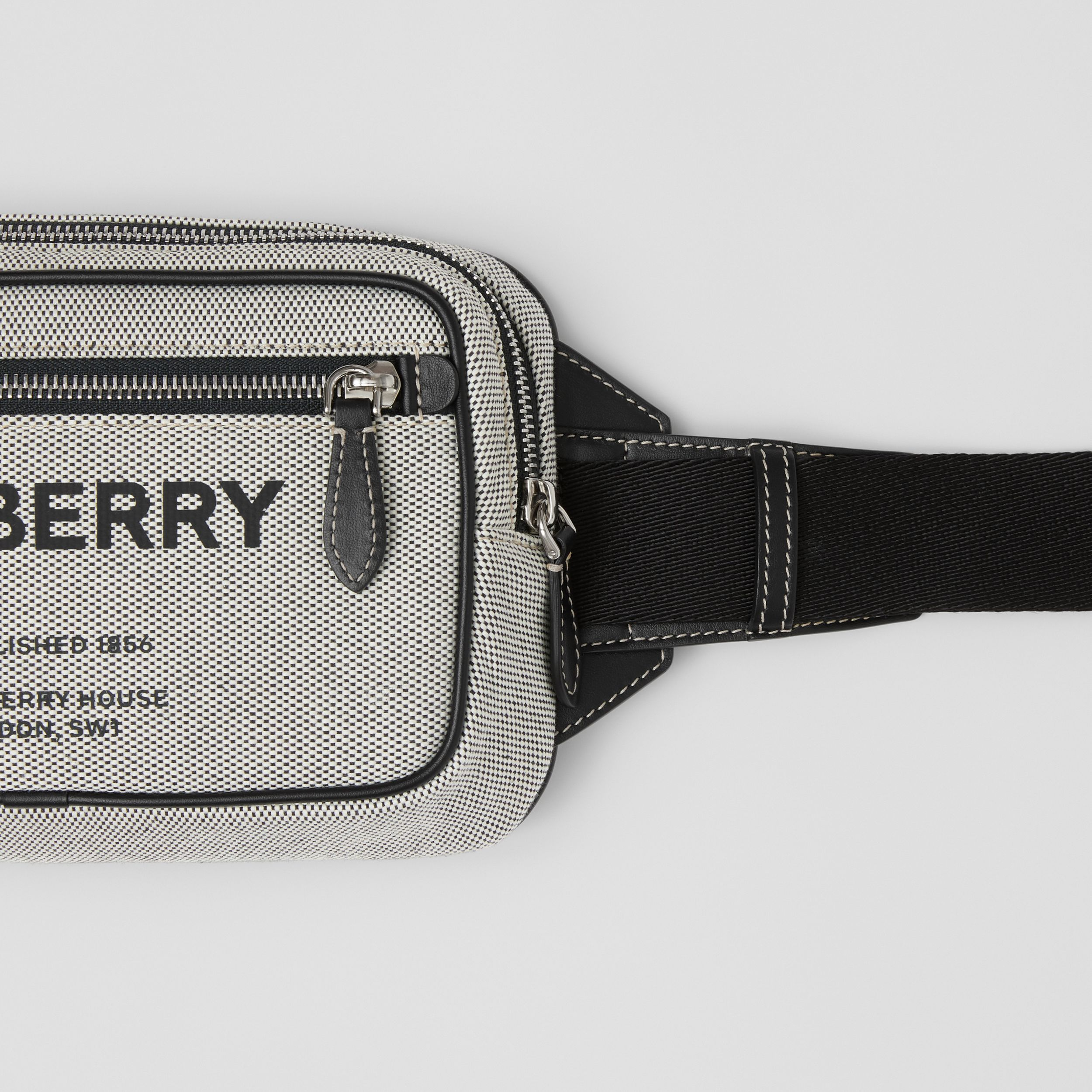 Horseferry Print Cotton Canvas Bum Bag in Black - Men | Burberry - 2