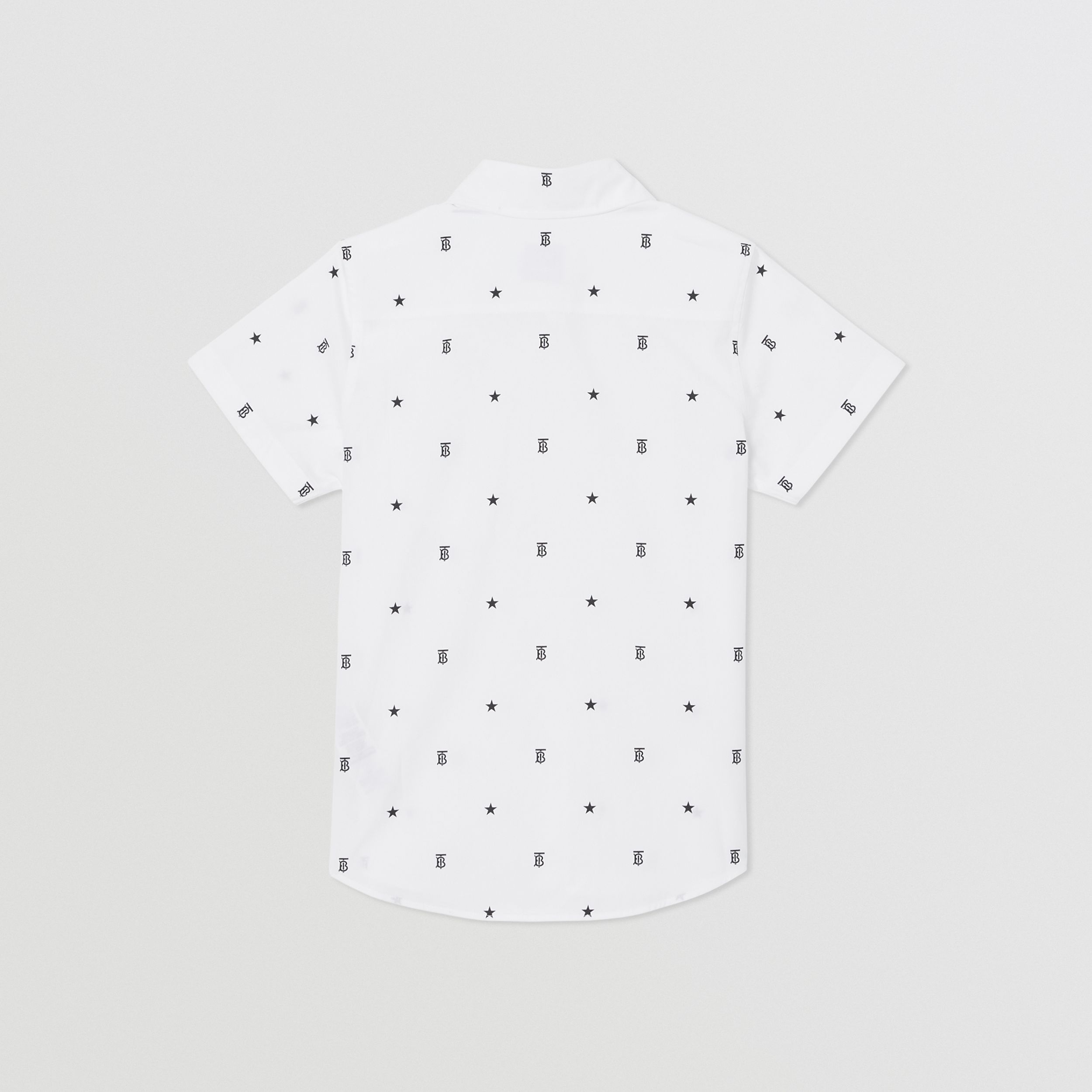 Short-sleeve Star and Monogram Motif Cotton Shirt in White | Burberry - 4