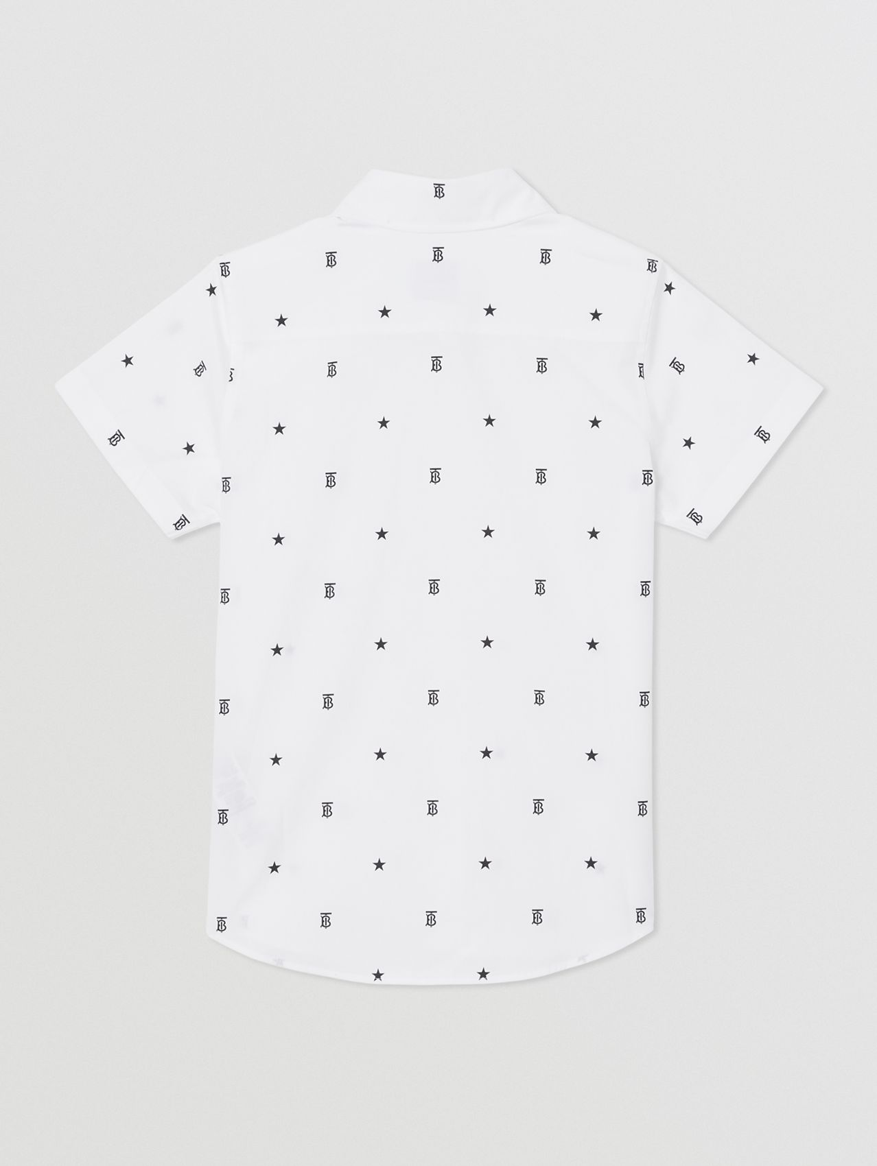Short-sleeve Star and Monogram Motif Cotton Shirt in White