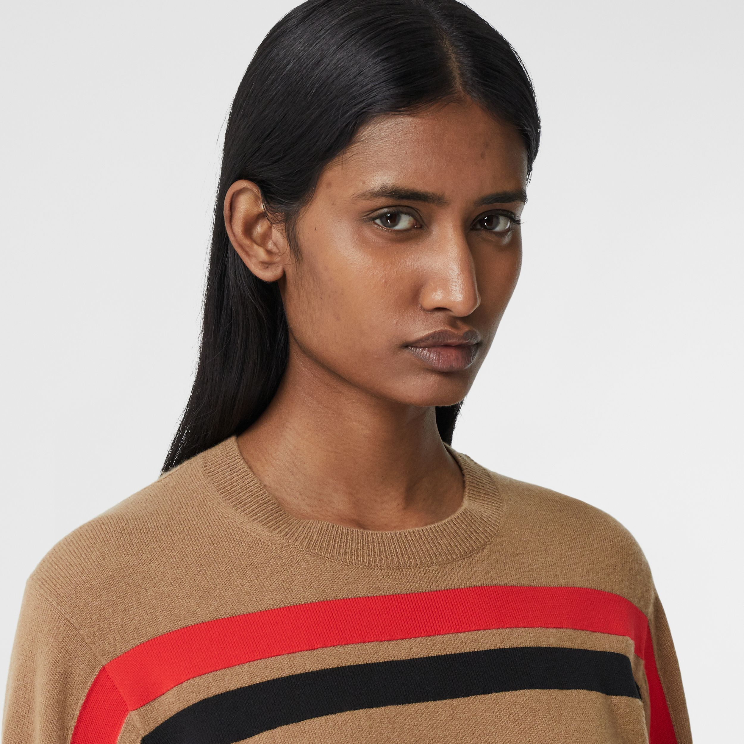 Stripe Detail Technical Cashmere Sweater in Beige - Women | Burberry - 2