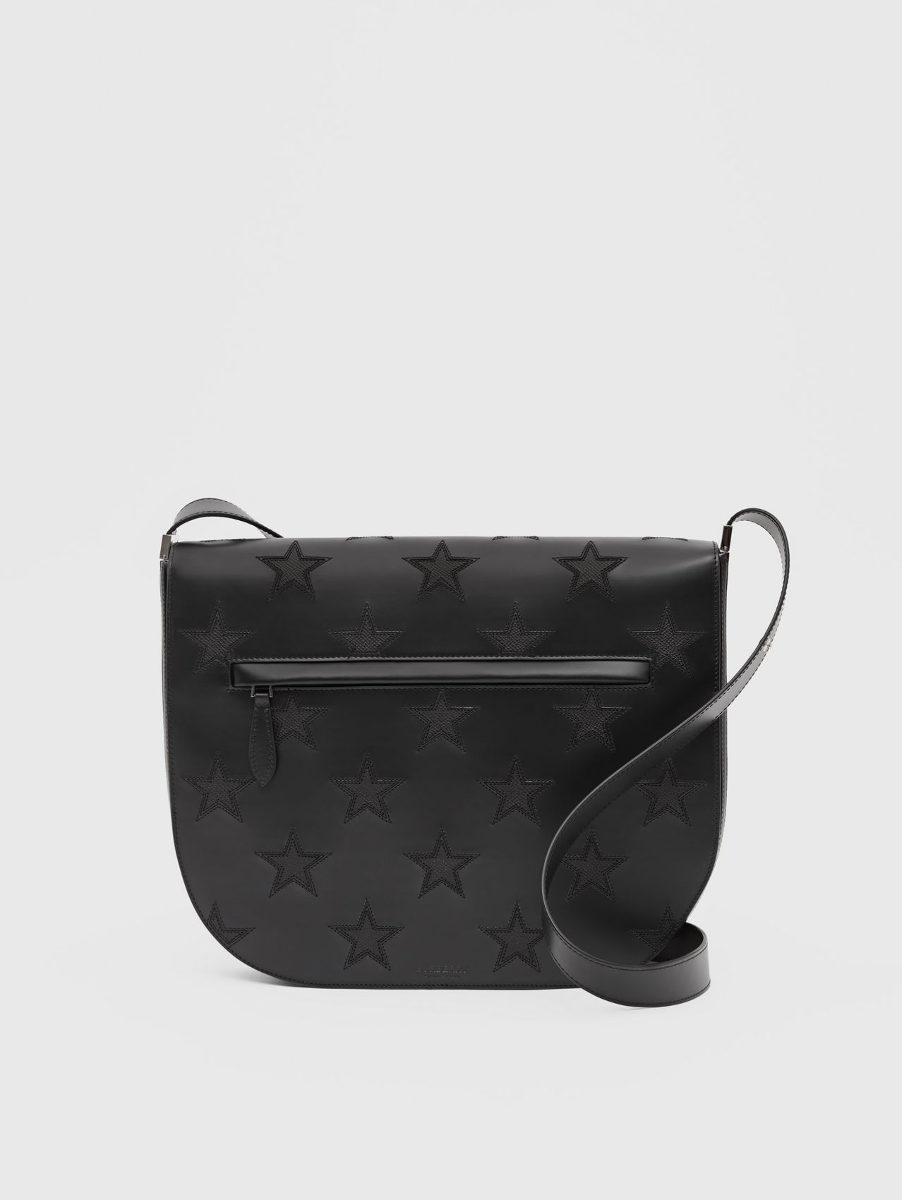 Star Motif Leather Olympia Crossbody Bag in Black