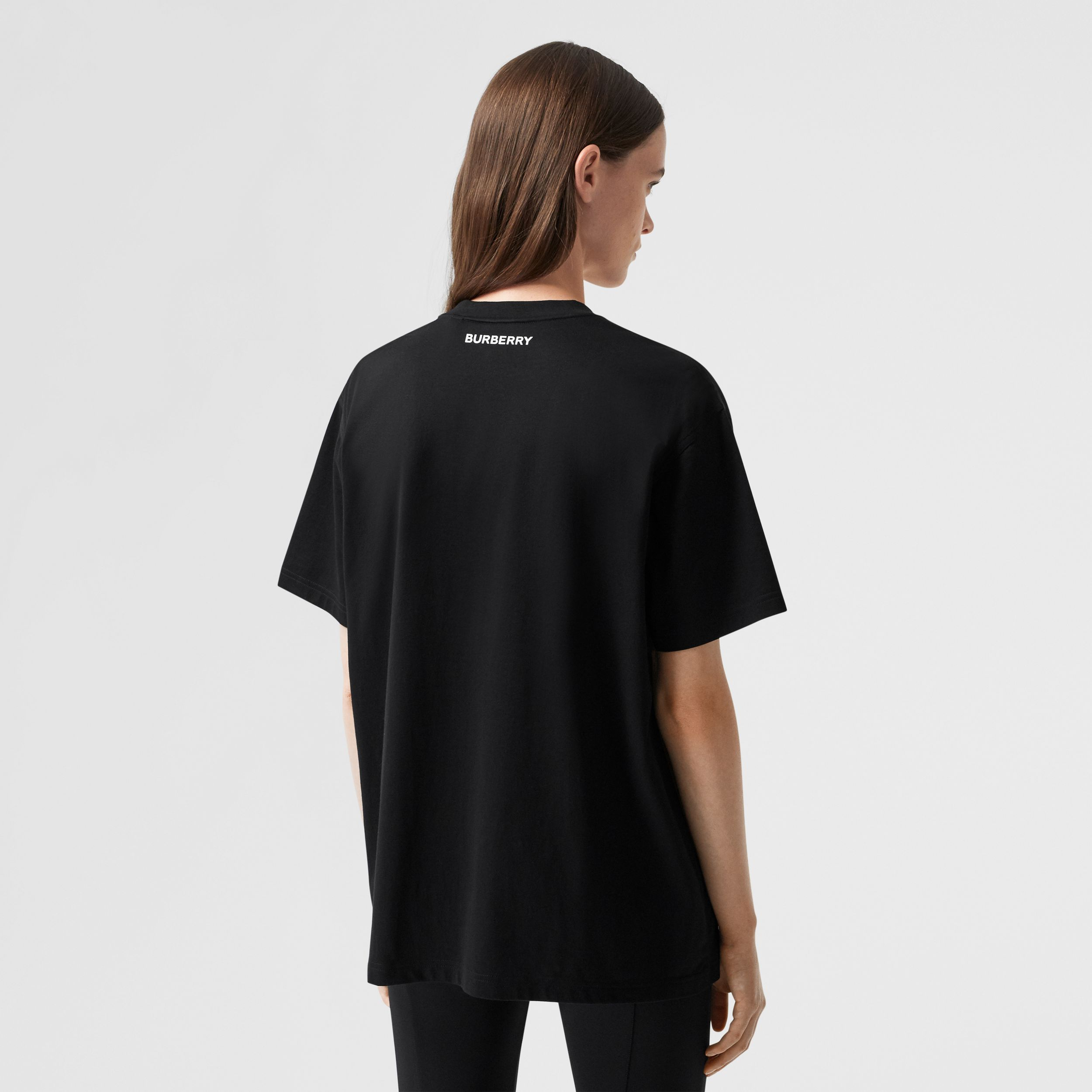 Slogan Print Cotton Oversized T-shirt in Black - Women | Burberry Hong Kong S.A.R. - 3
