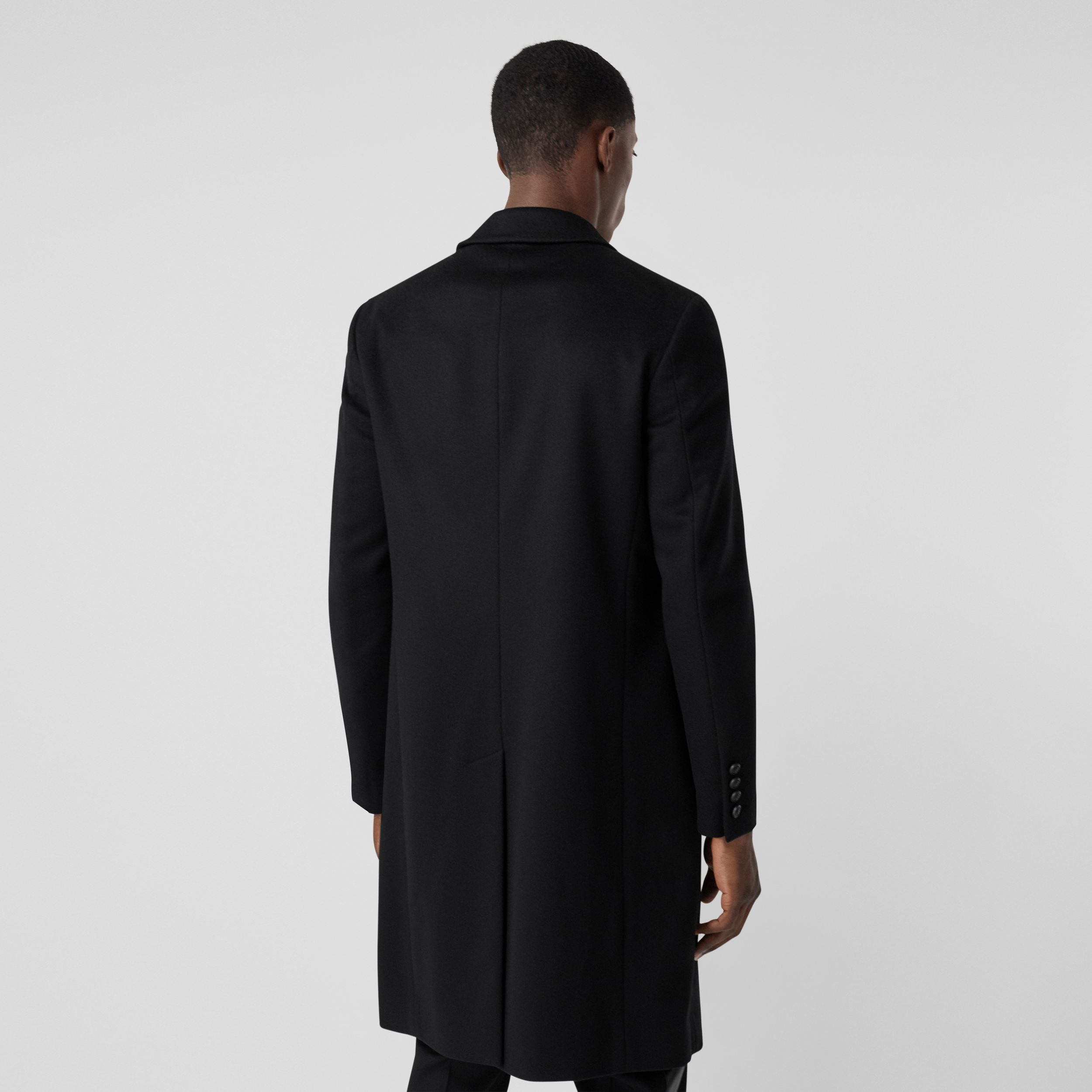Button Detail Wool Cashmere Tailored Coat in Black - Men | Burberry - 3