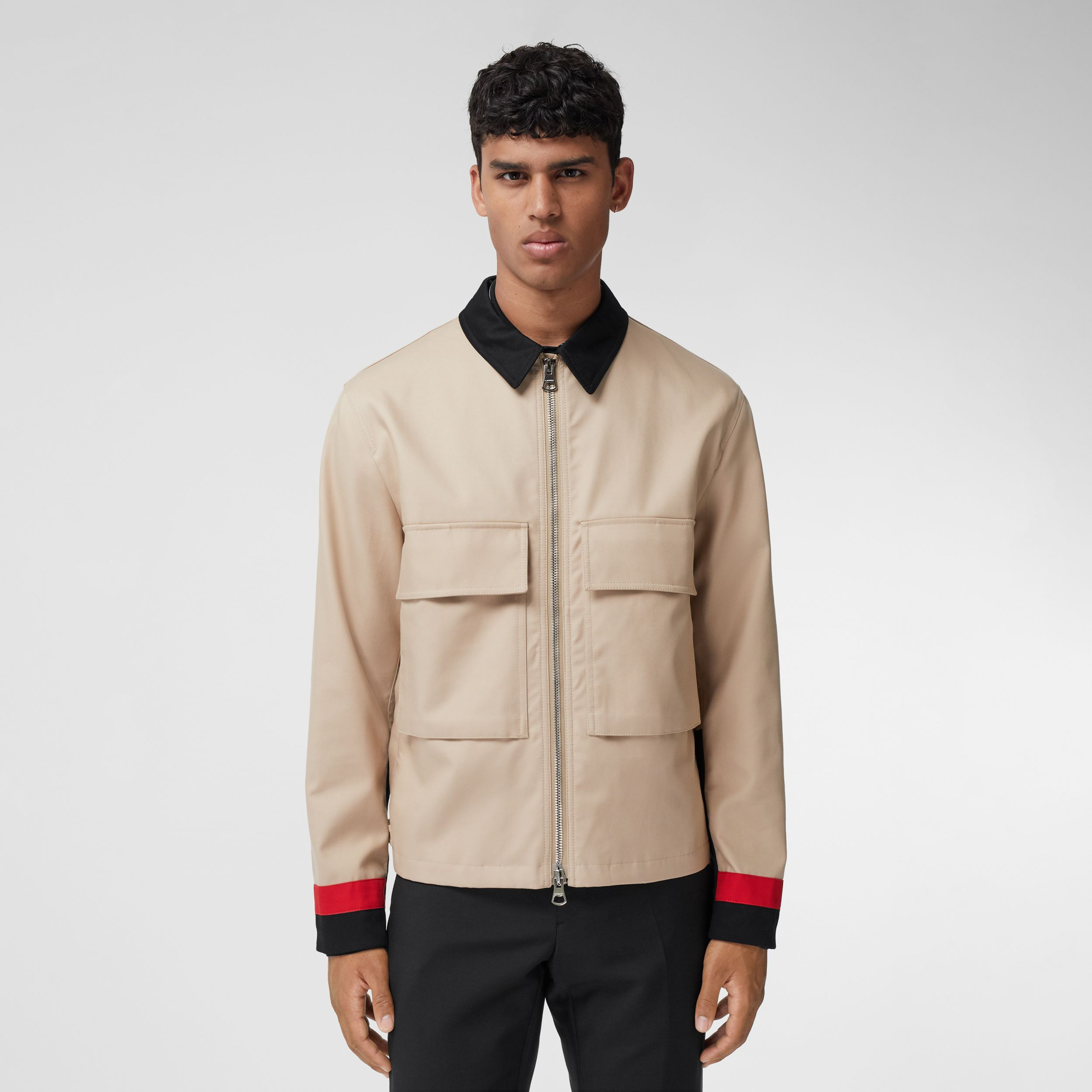 Stripe Detail Cotton Gabardine Field Jacket in Soft Fawn - Men | Burberry - 1