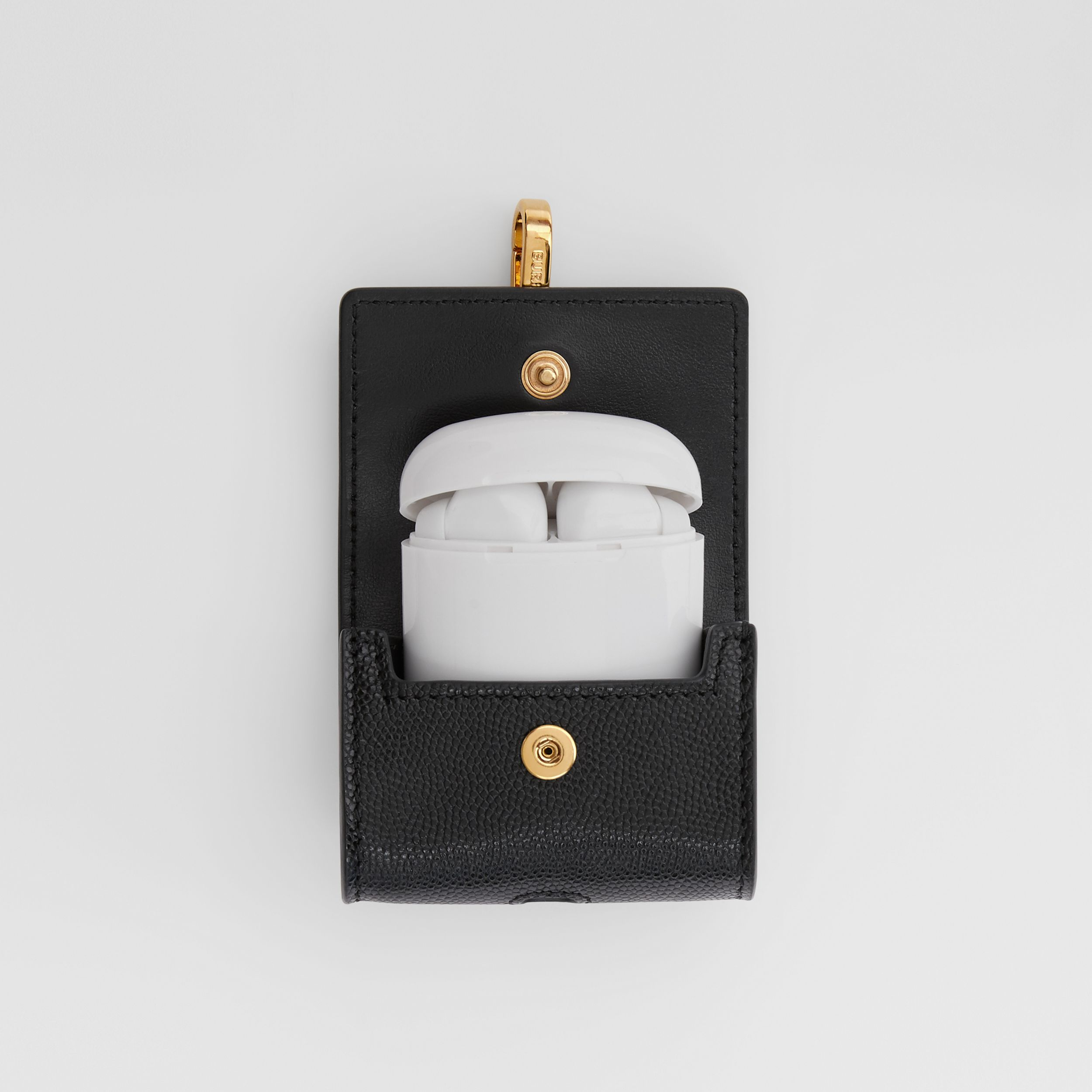 Grainy Leather AirPods Pro Case in Black | Burberry Singapore - 3