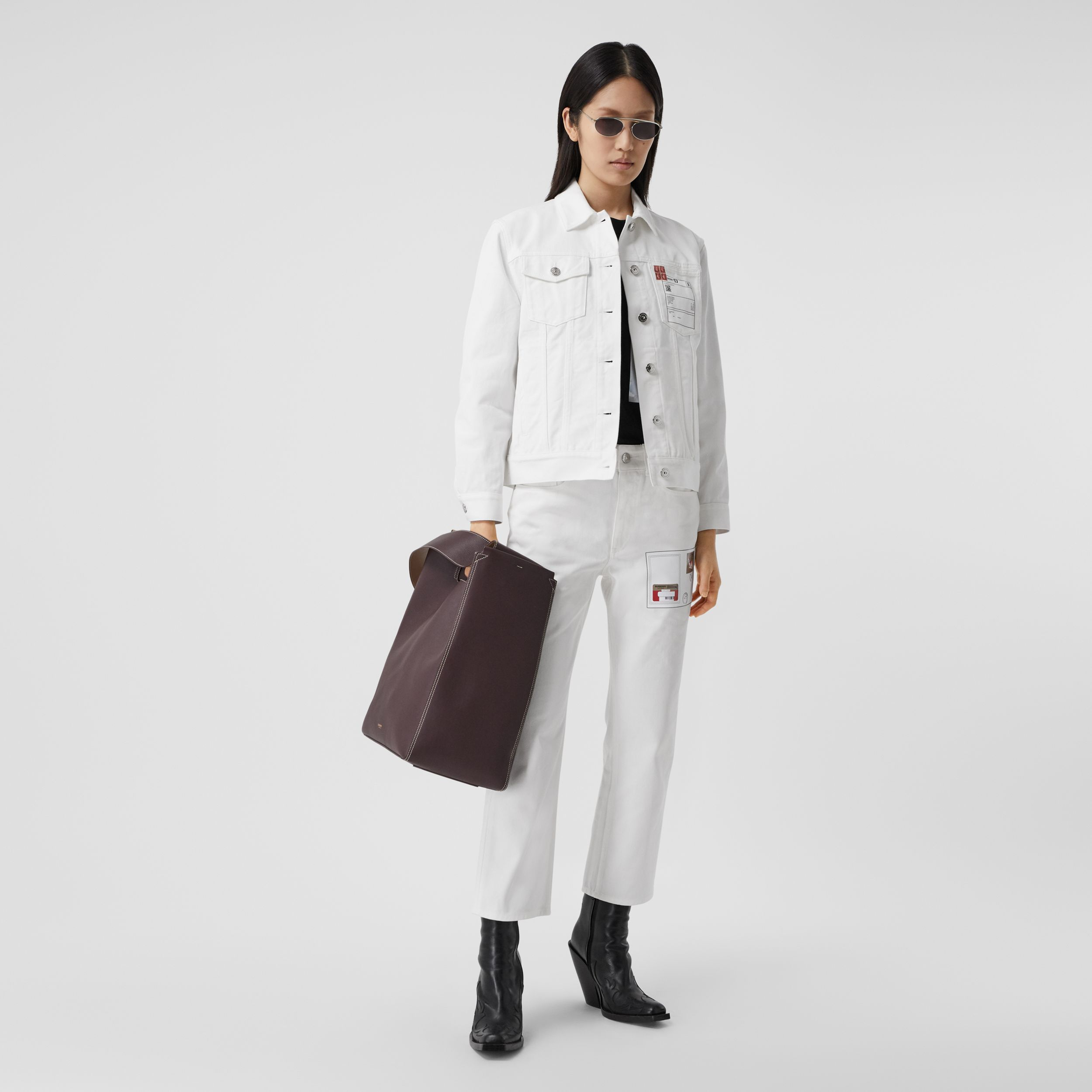 Montage Print Denim Jacket in White - Women | Burberry Canada - 1