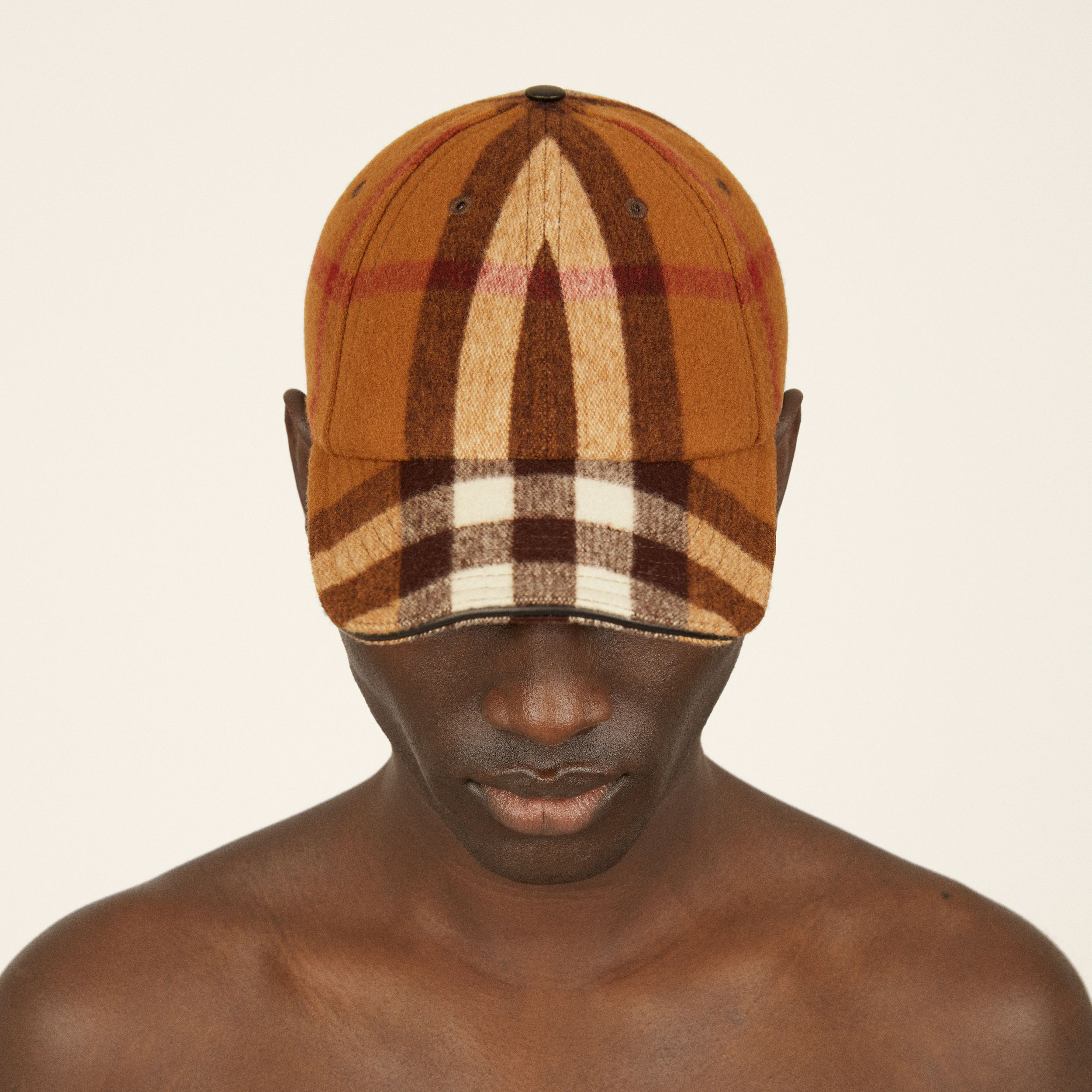 Lambskin Trim Check Wool Baseball Cap in Birch Brown | Burberry - 2