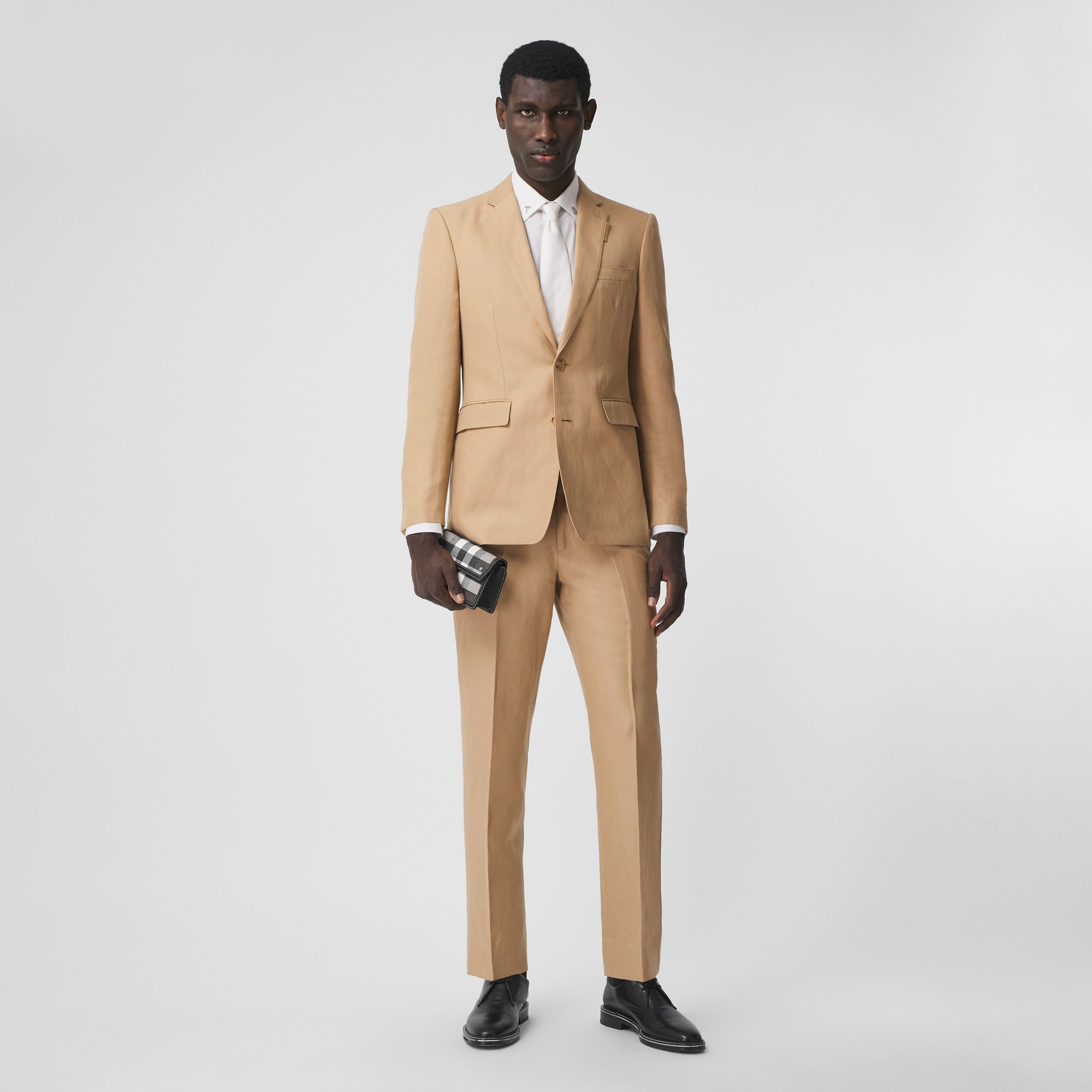 Wool Linen Cropped Tailored Trousers in Honey - Men | Burberry United States - 1