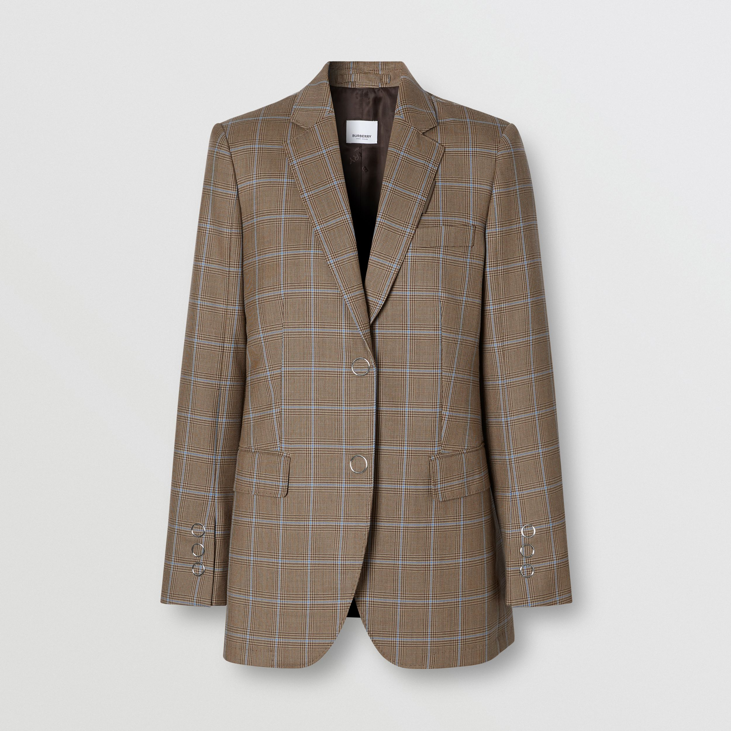 Prince of Wales Check Wool Tailored Jacket in Birch Brown - Women | Burberry - 4