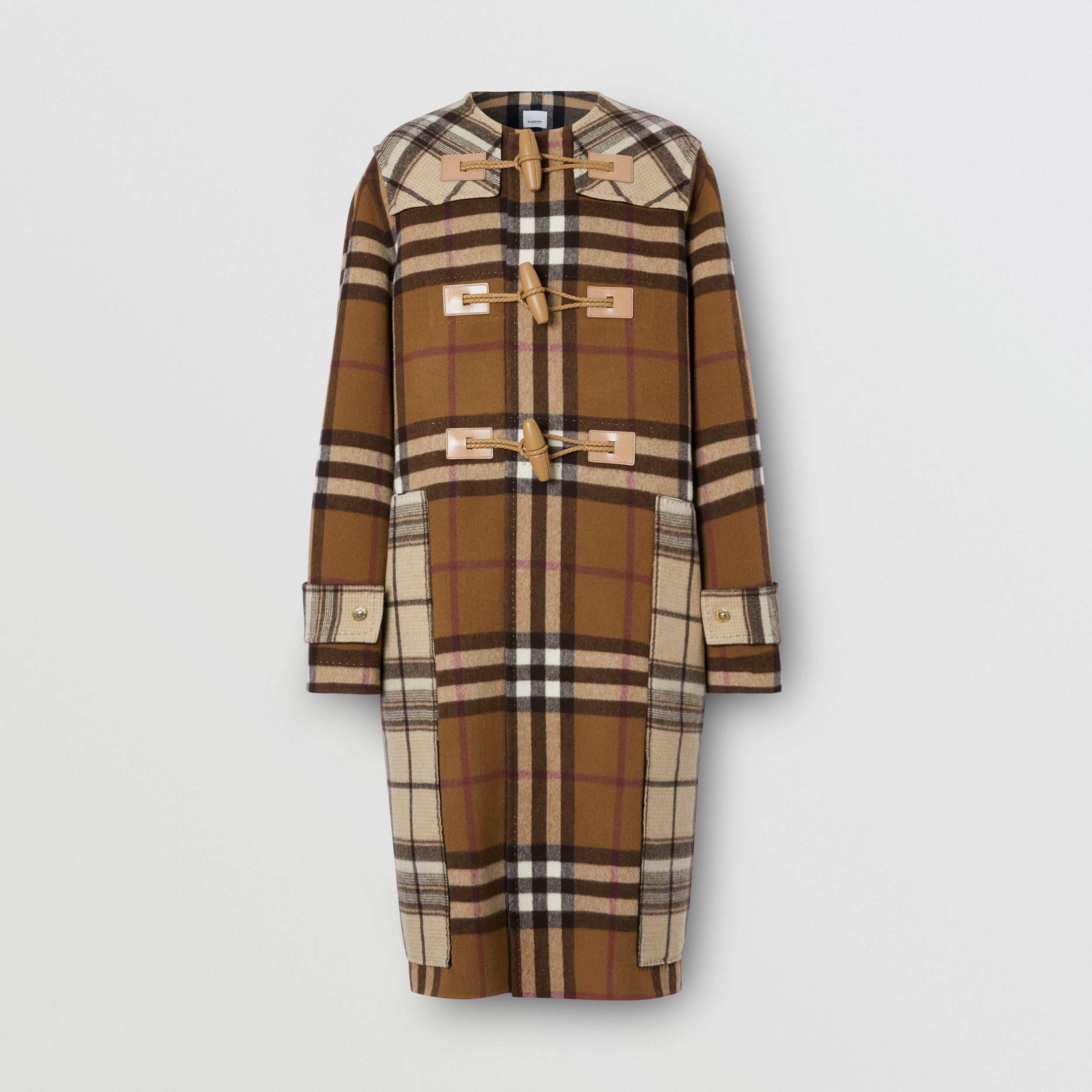 Double-faced Contrast Check Wool Duffle Coat in Birch Brown | Burberry Australia - 4