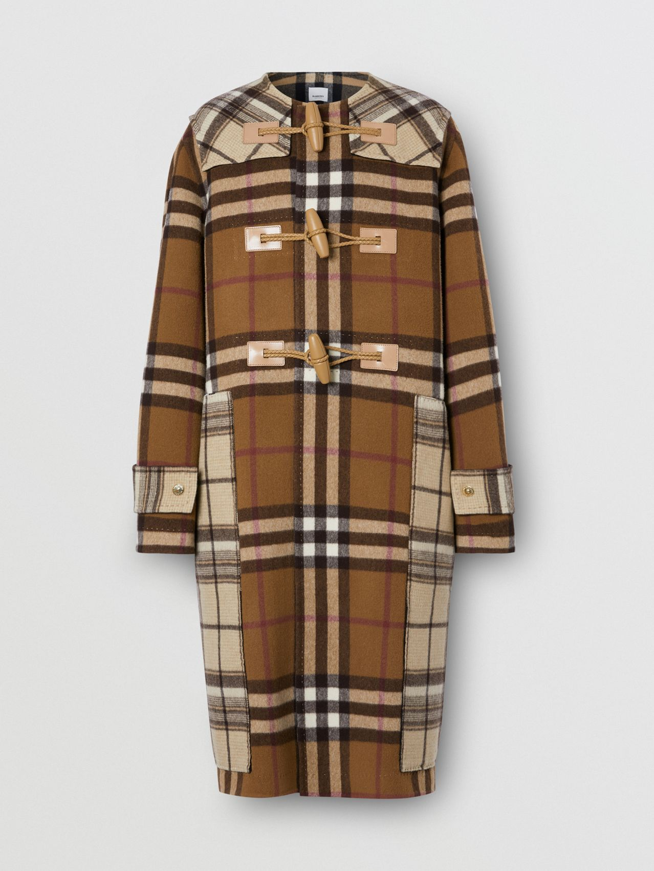 Double-faced Contrast Check Wool Duffle Coat in Birch Brown