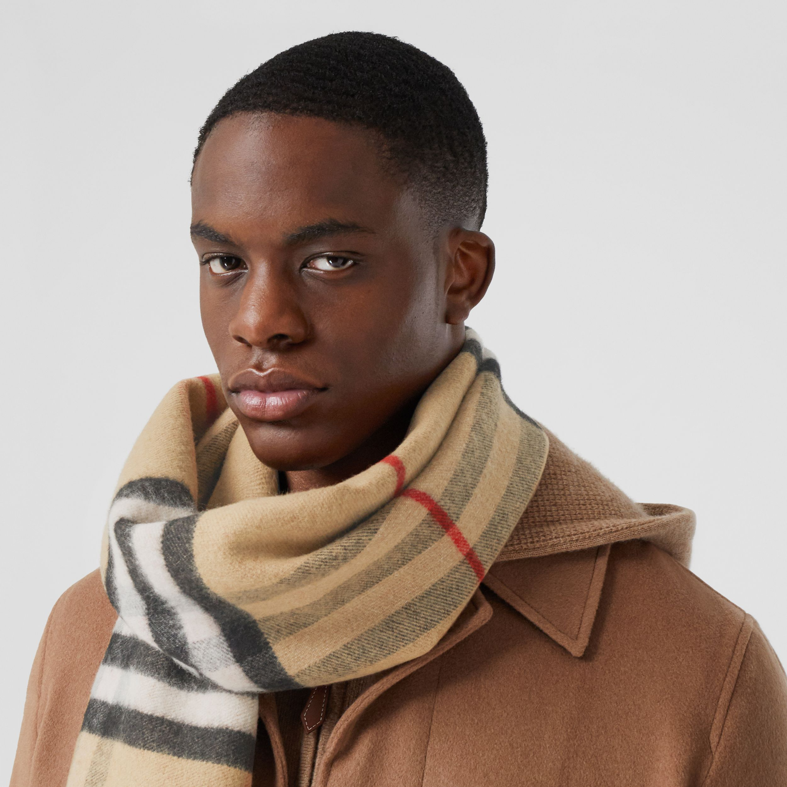 Love and Check Cashmere Jacquard Scarf in Archive Beige | Burberry - 4
