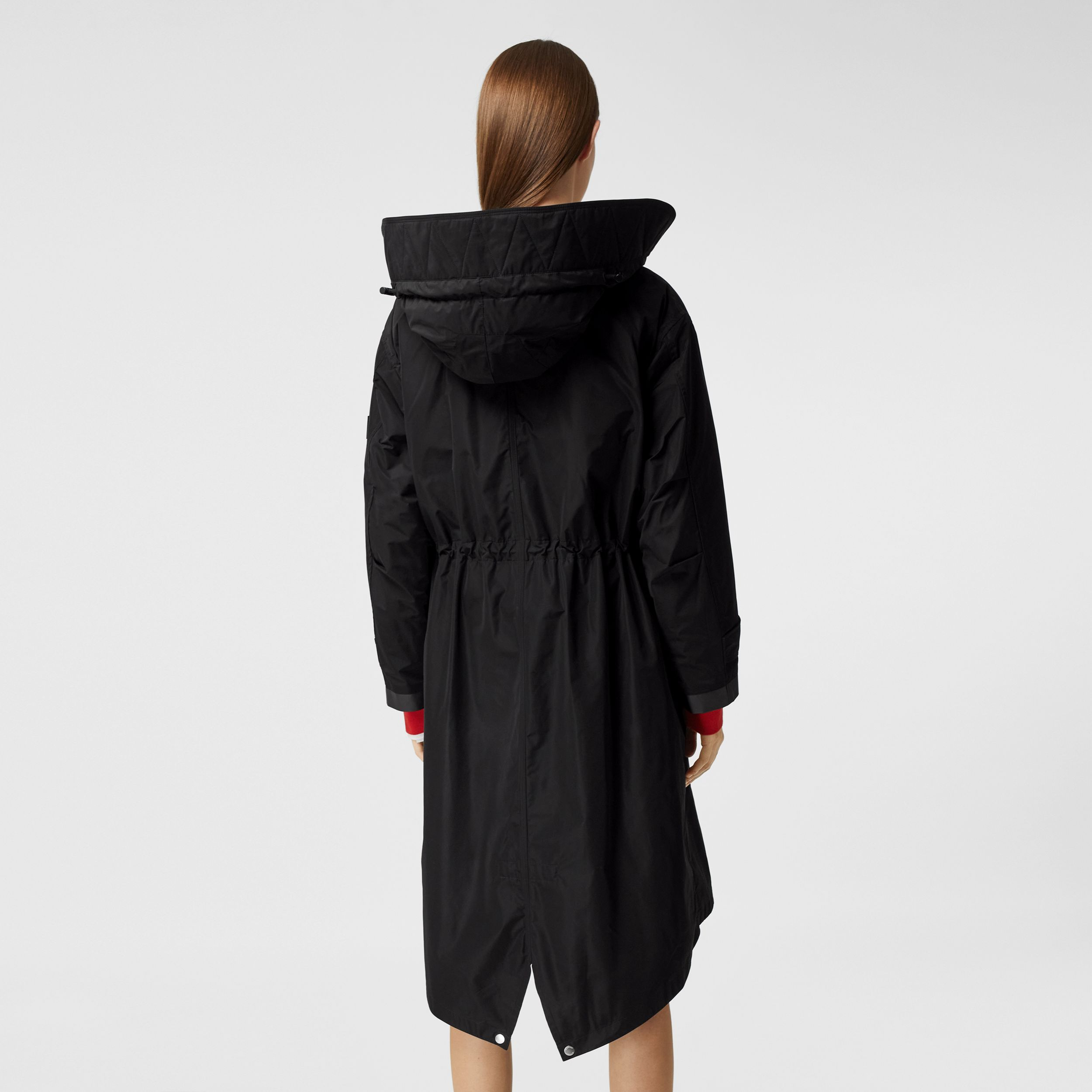 Detachable Hood Shape-memory Taffeta Parka in Black - Women | Burberry Australia - 3