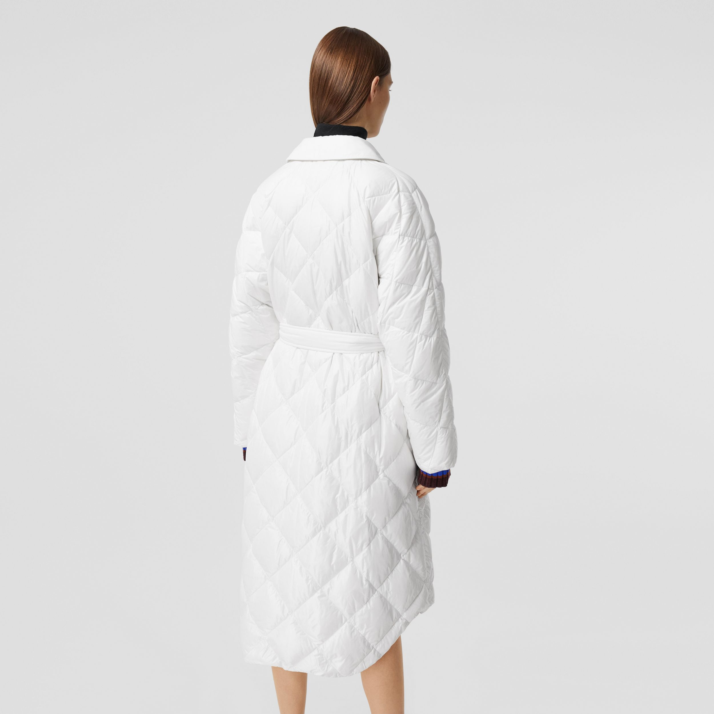 Logo Appliqué Down-filled Belted Coat in Optic White - Women | Burberry - 3