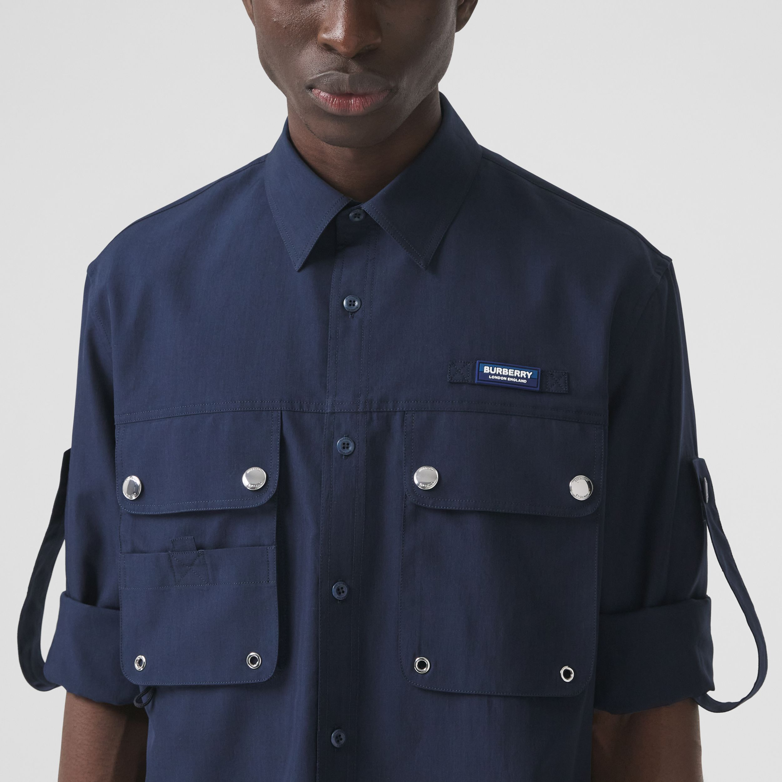 Logo Appliqué Cotton Silk Shirt in Ink Blue - Men | Burberry - 2
