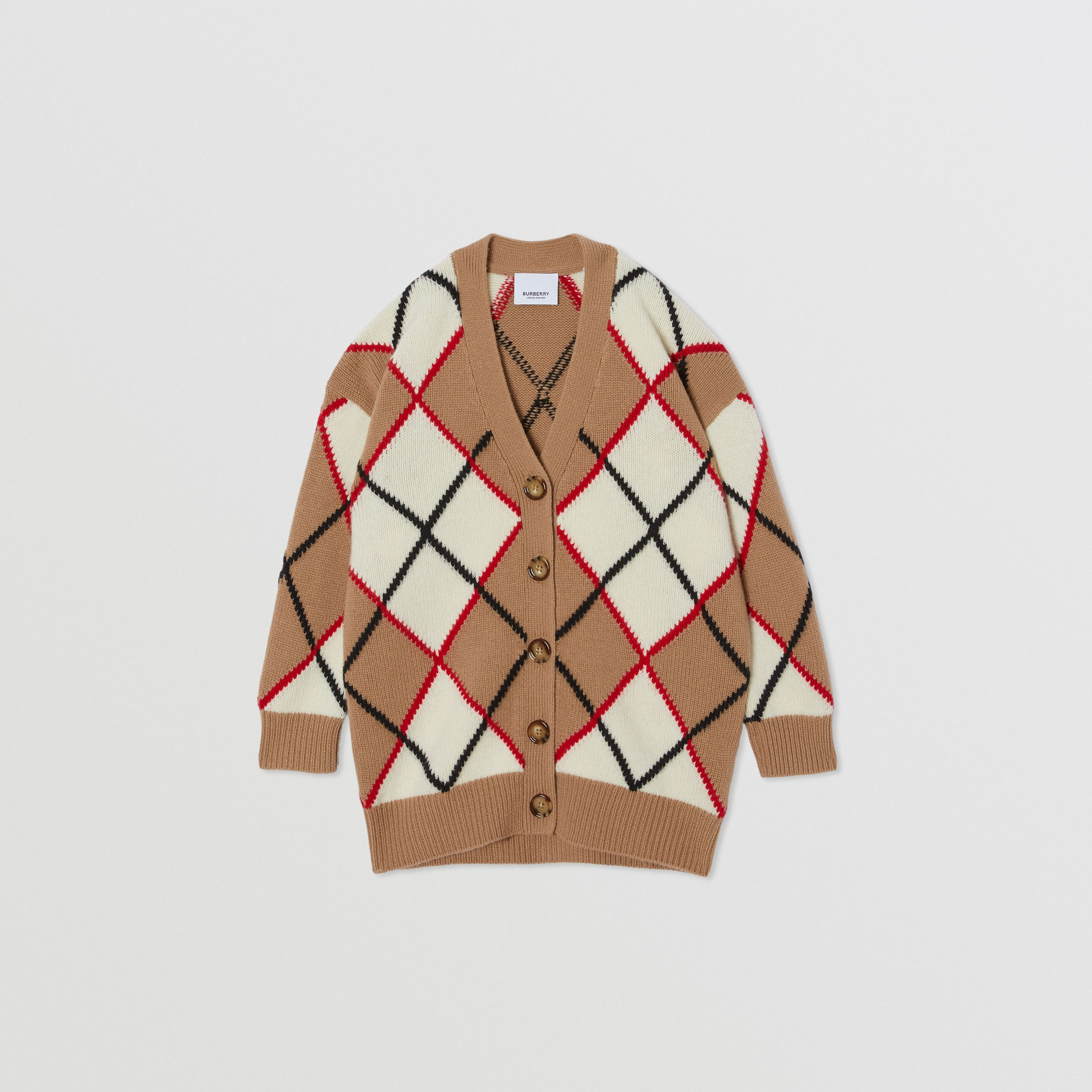 Argyle Intarsia Wool Cashmere Cardigan in Camel | Burberry United Kingdom - 1