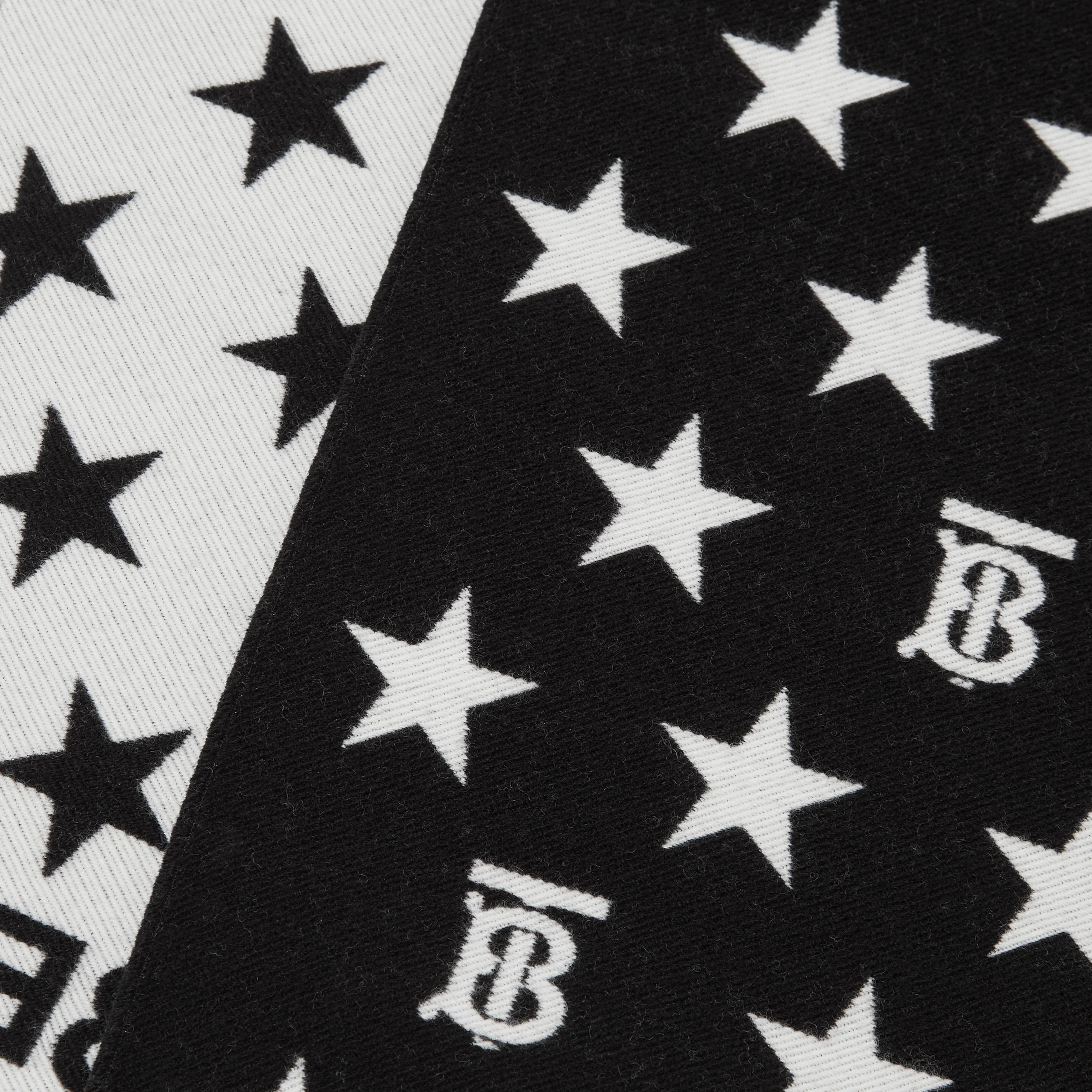 Star and Monogram Motif Wool Cotton Jacquard Scarf in Black - Children | Burberry Australia - 2