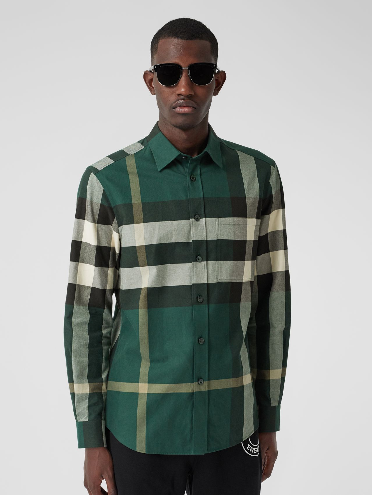 Check Cotton Flannel Shirt in Dark Forest Green