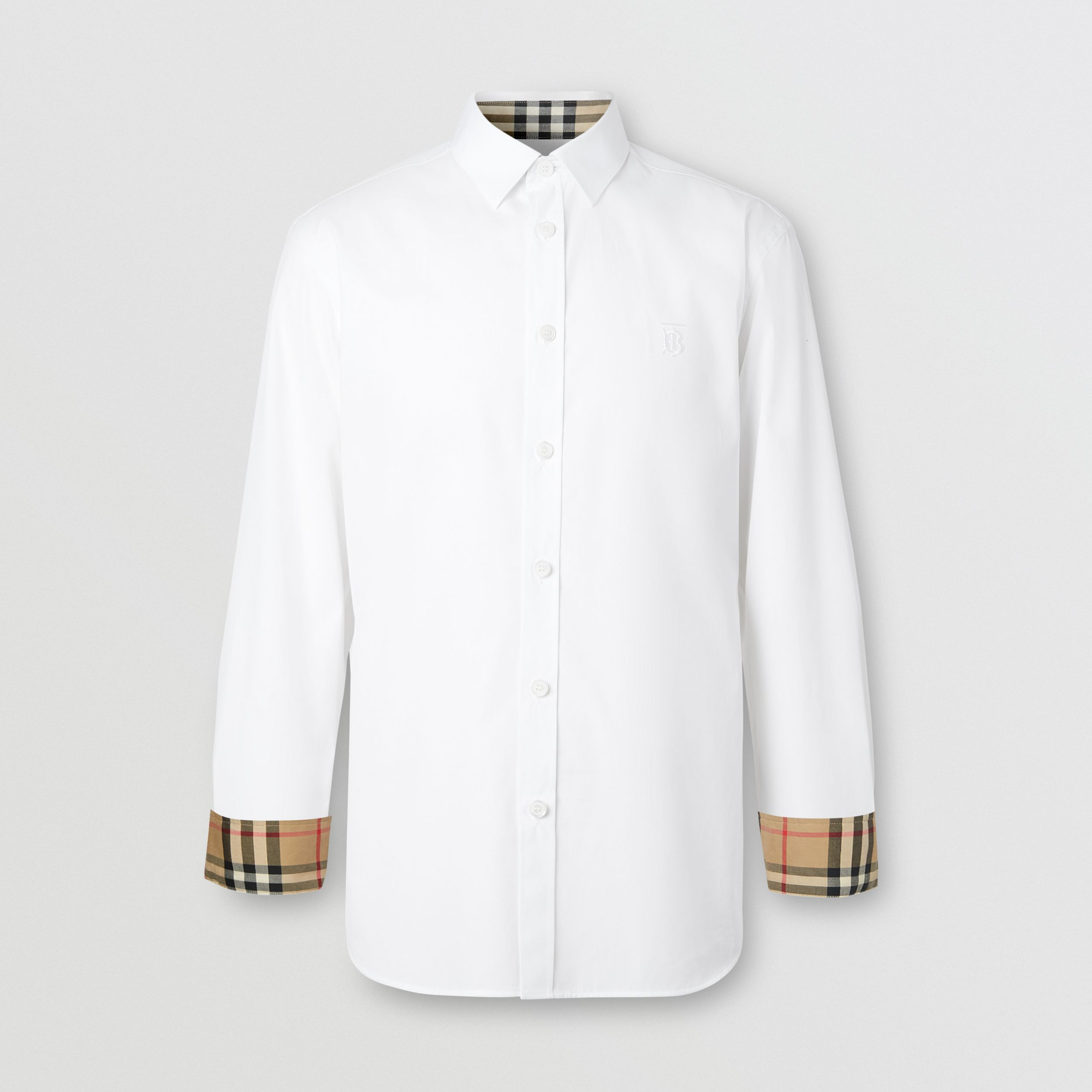 Slim Fit Monogram Motif Stretch Cotton Poplin Shirt in White - Men | Burberry - 4