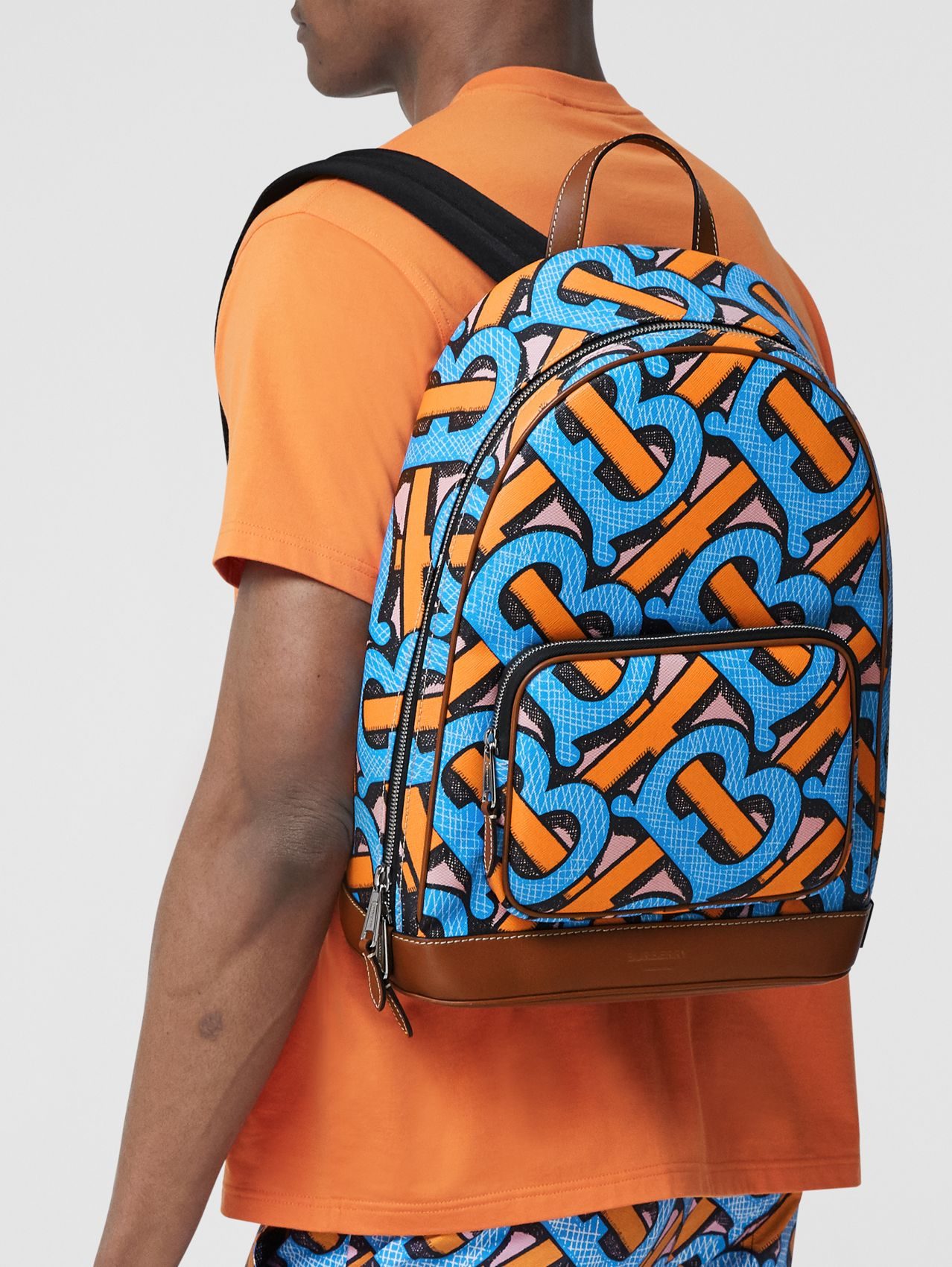 Monogram Print E-canvas Backpack (Bright Cobalt)