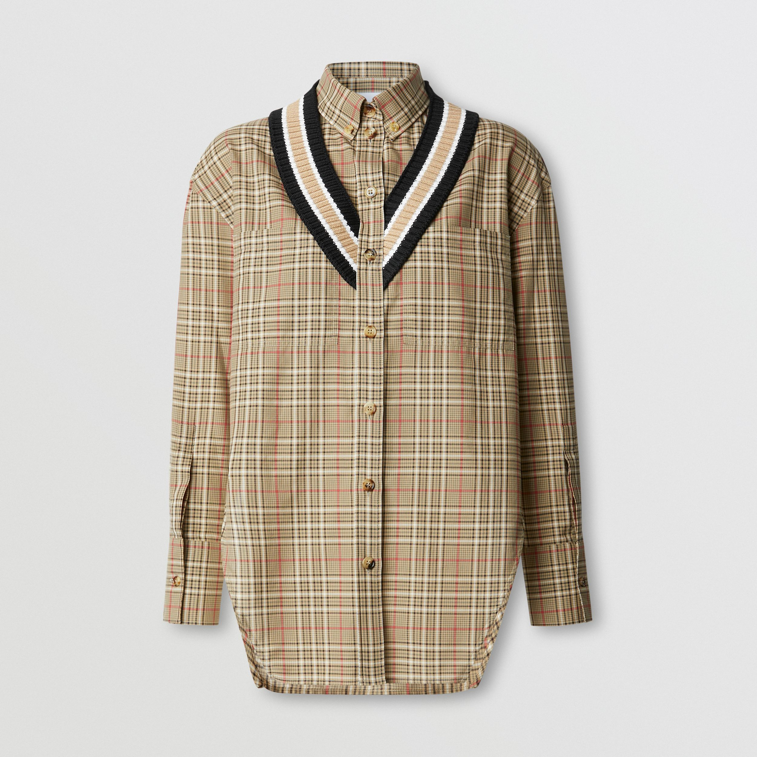 Rib Knit Cricket Stripe Check Cotton Oversized Shirt in Soft Fawn - Women | Burberry - 4