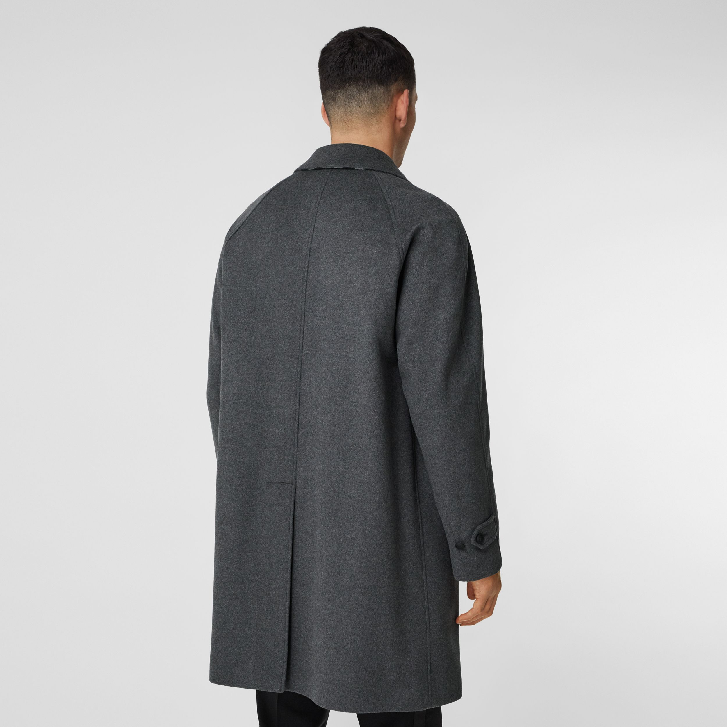 Button Detail Wool Cashmere Car Coat in Charcoal Melange - Men | Burberry - 3